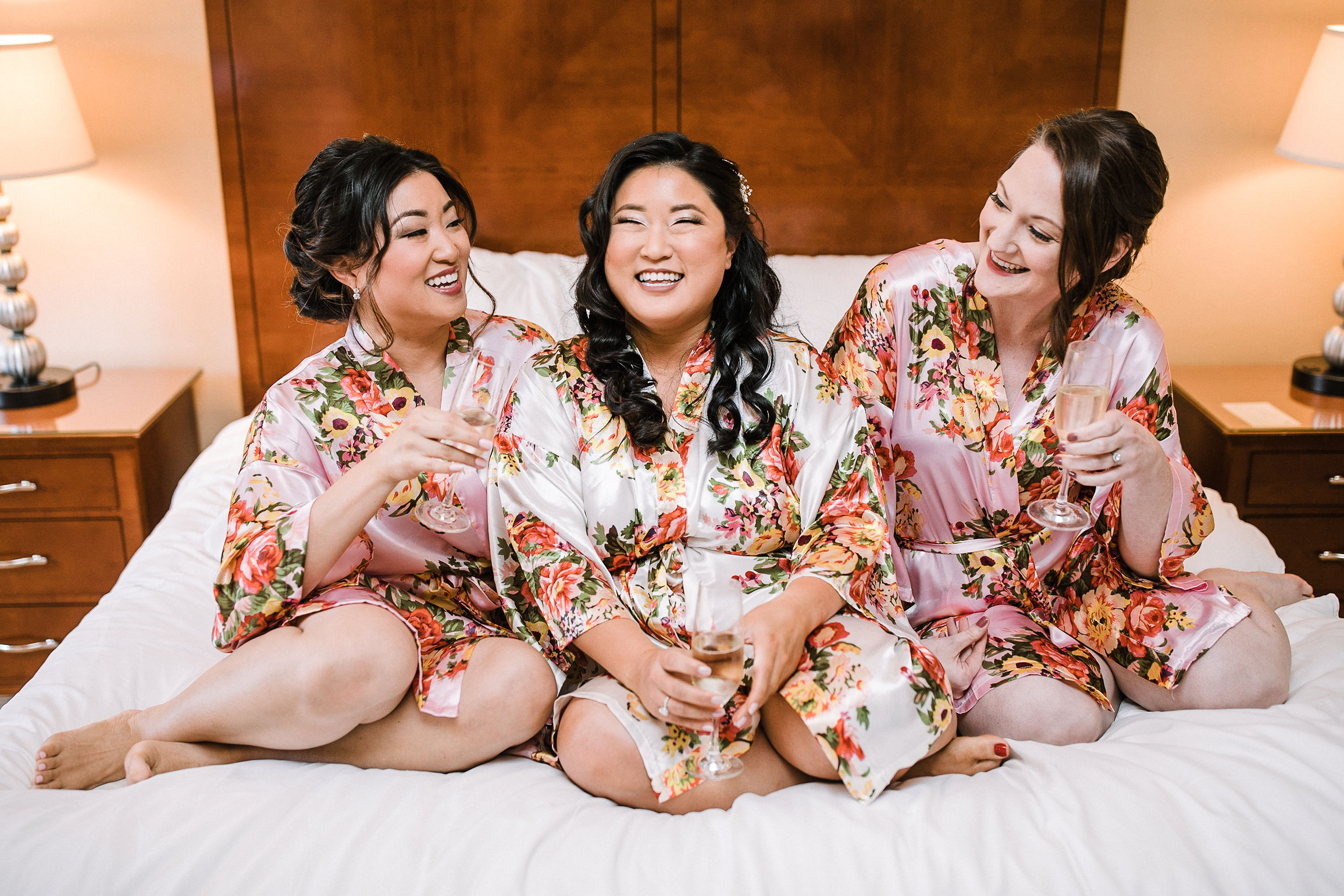 bride and bridesmaids laughing at Westfields Golf Club
