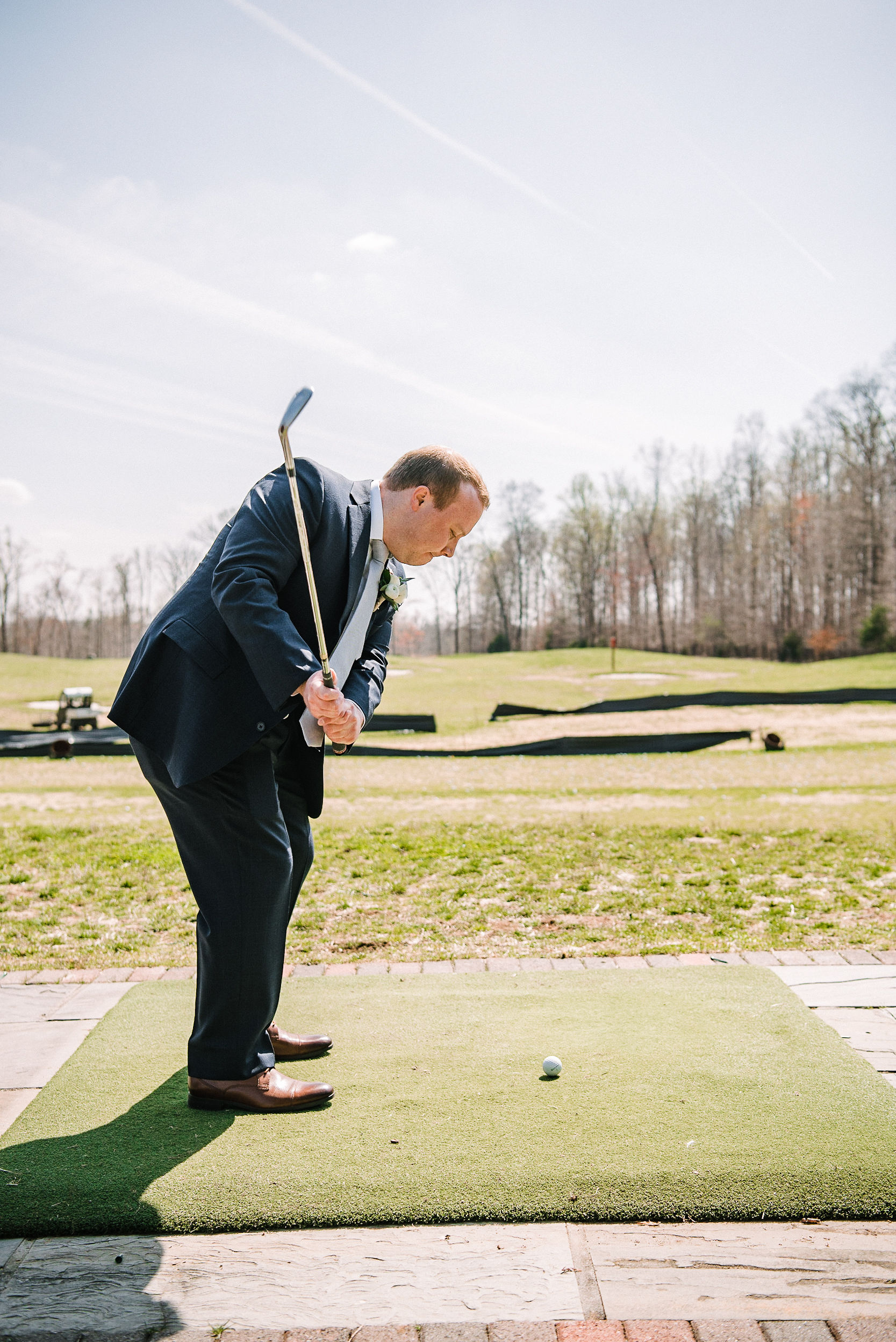 groom playing golf at Westfields Golf Club