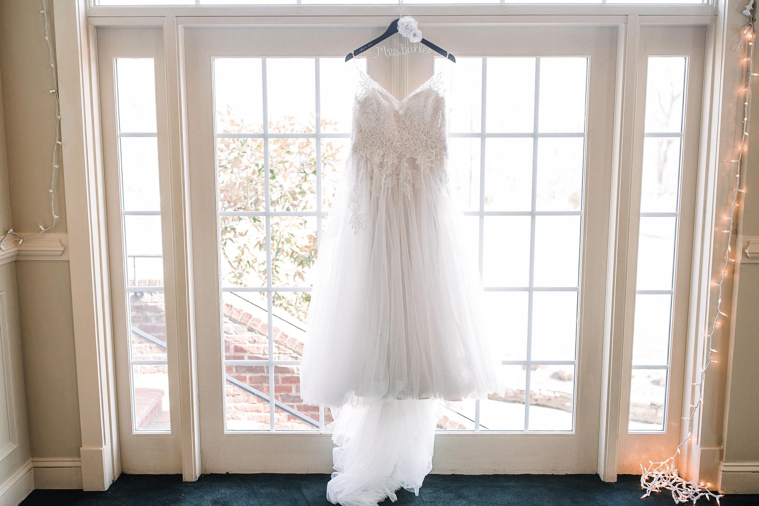 detail shot of wedding dress at Westfields Golf Club