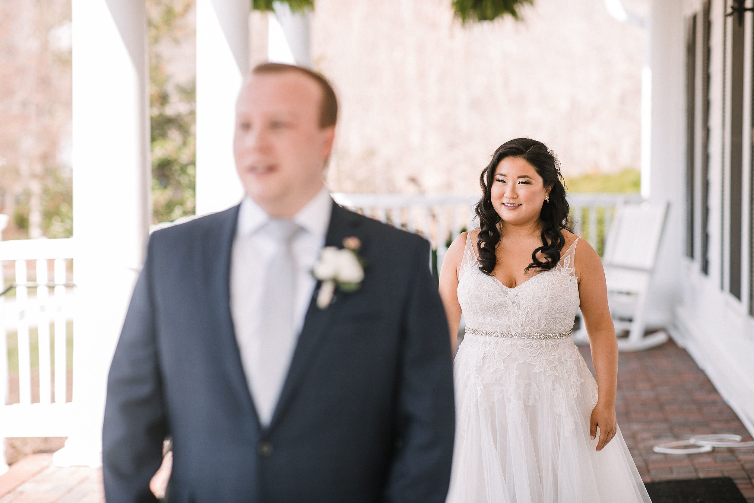 bride and groom doing a first look at Westfields Golf Club