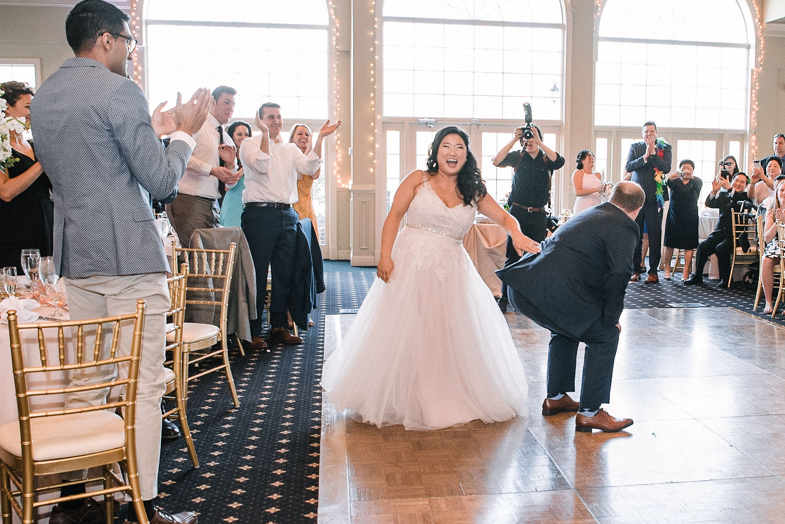 bride and groom enter reception at Westfields Golf Club