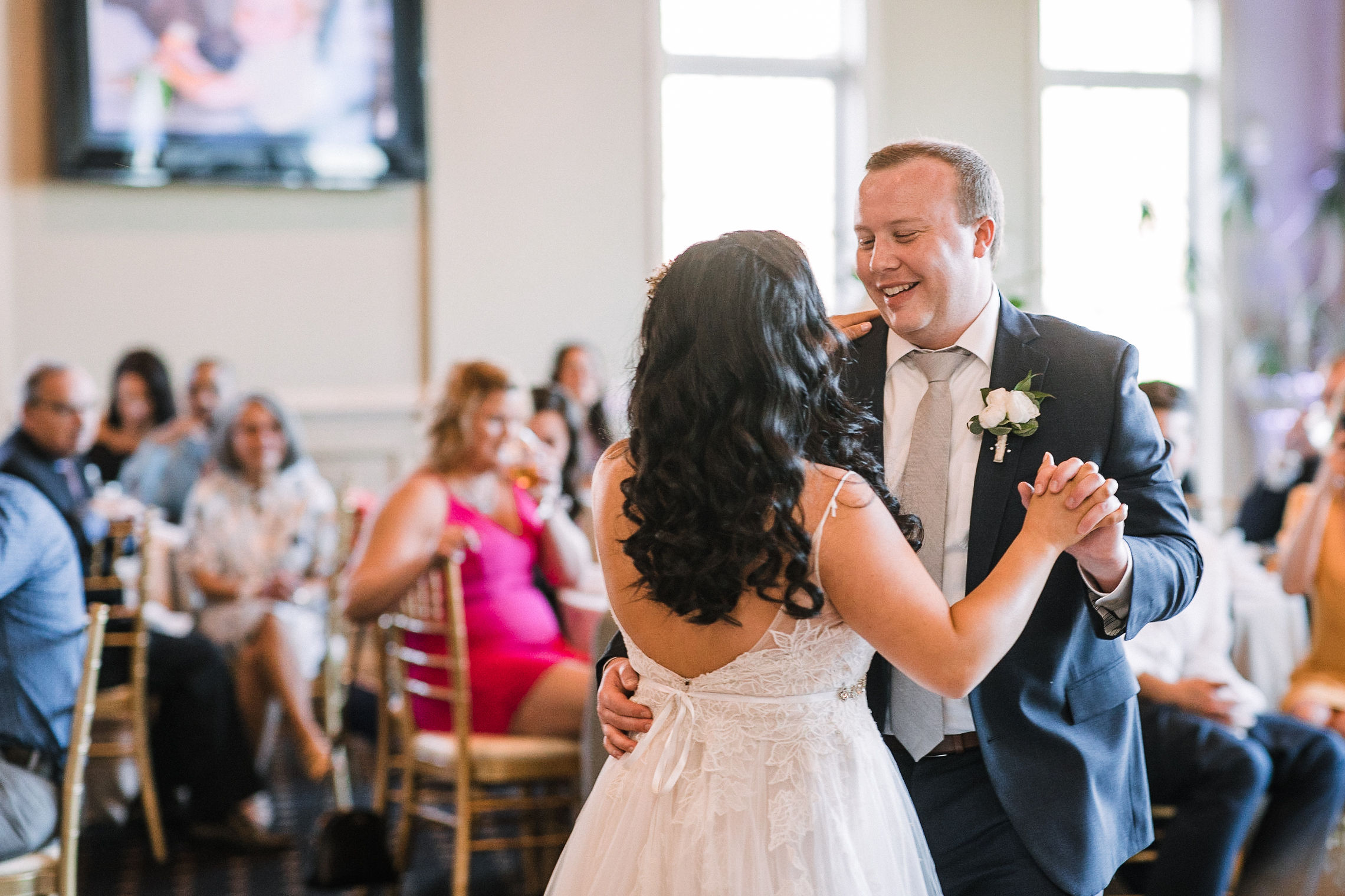 bride and groom dancing at reception at Westfields Golf Club