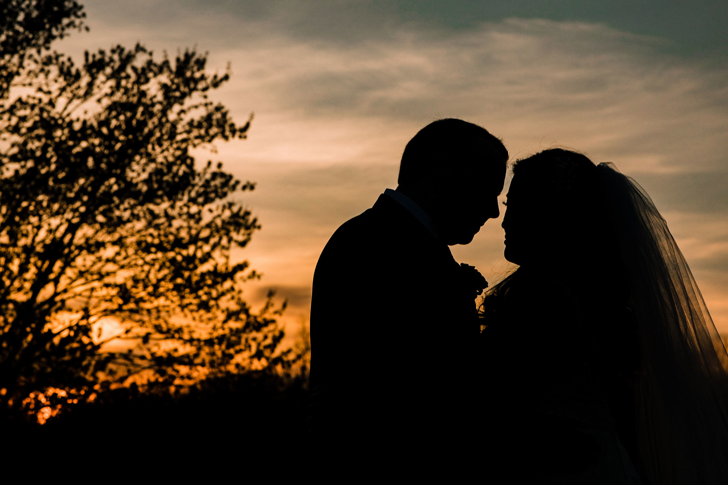 bride and groom silhouettes at Westfields Golf Club