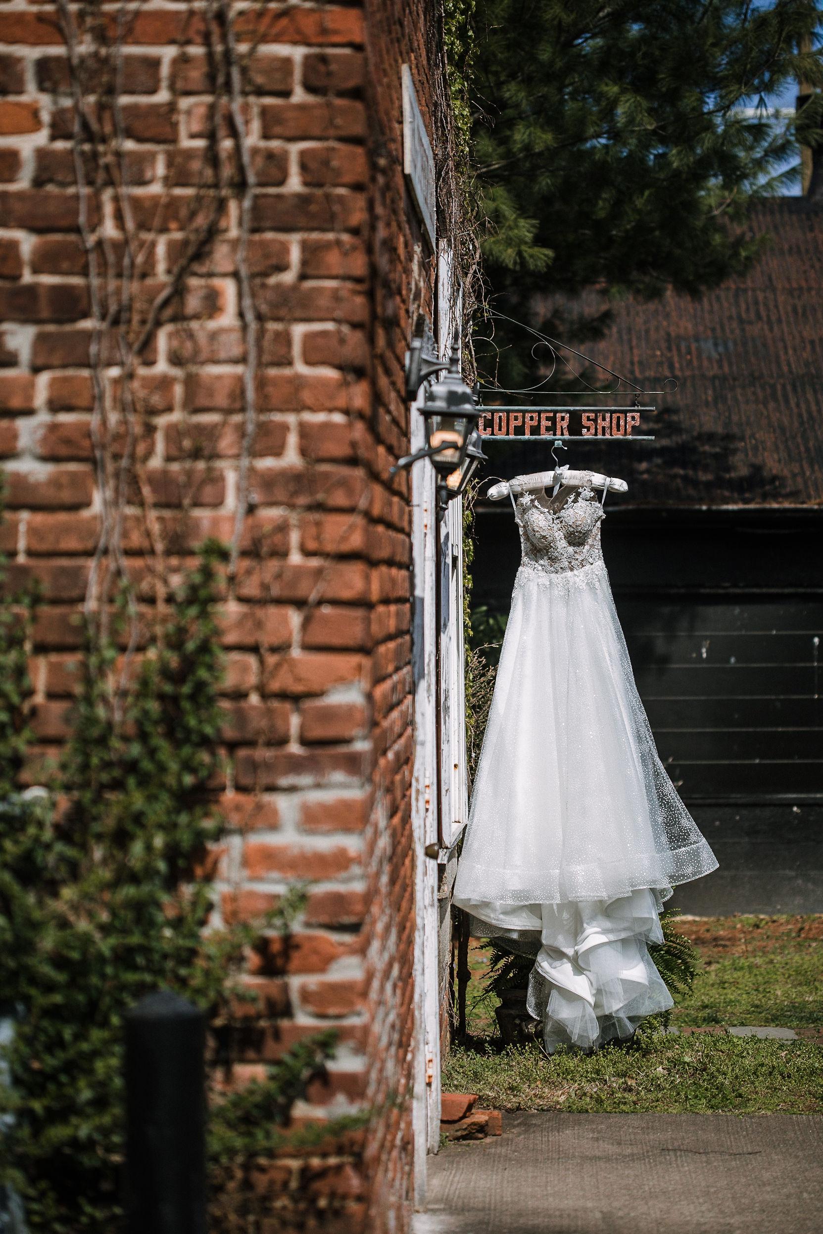 wedding dress detail shot at the Inn at the Old Silk Mill