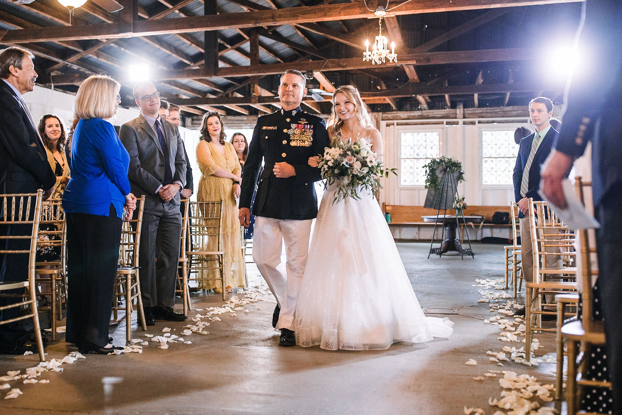 bride walking down the aisle at the Inn at the Old Silk Mill