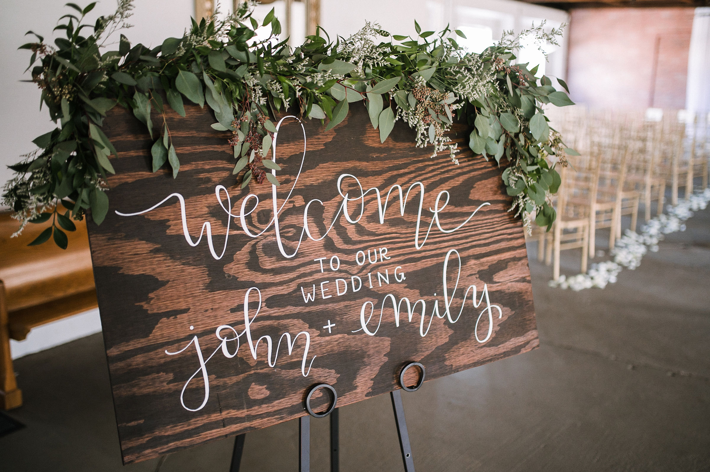 wedding sign at the Inn at the Old Silk Mill