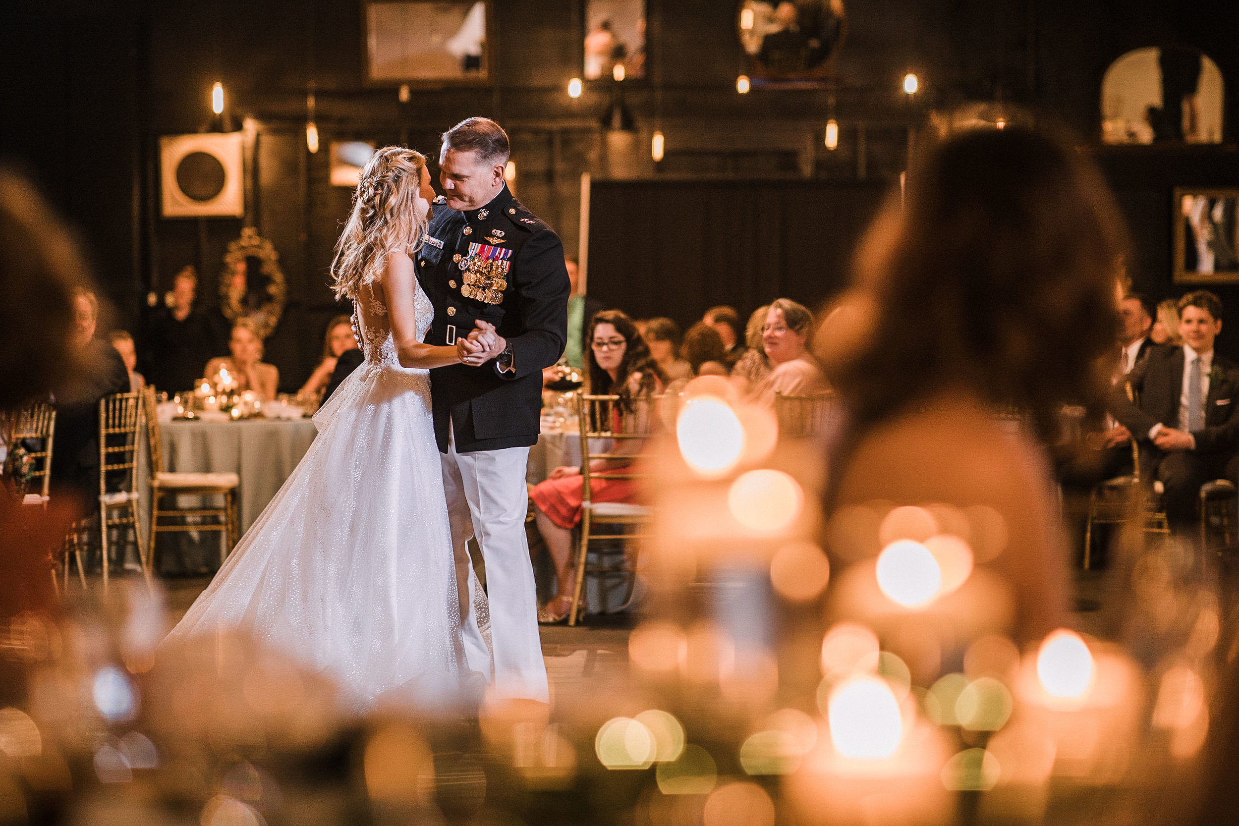 bride dancing with father at the Inn at the Old Silk Mill