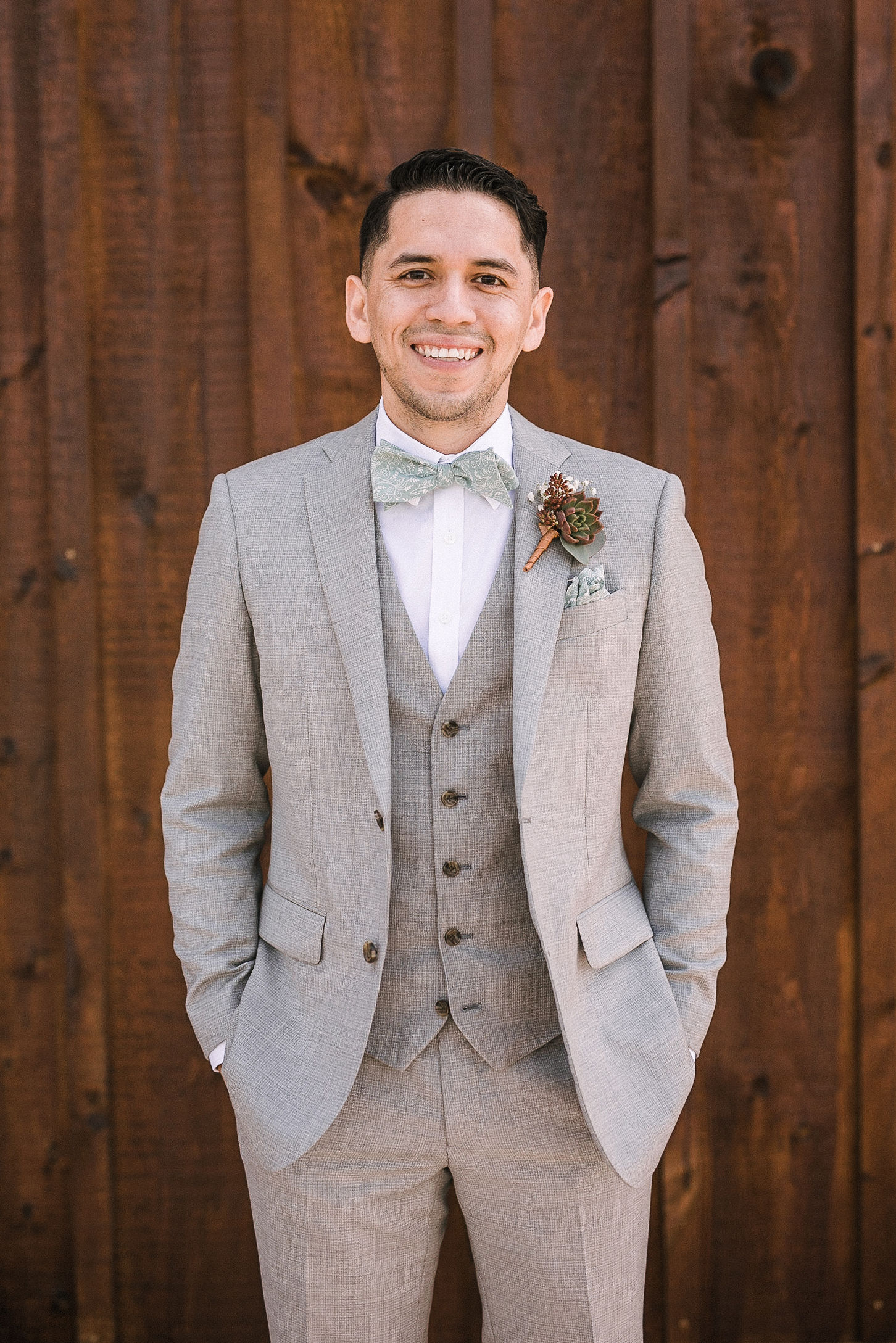 Groom smiling at the Faithbrooke Barn & Vineyards