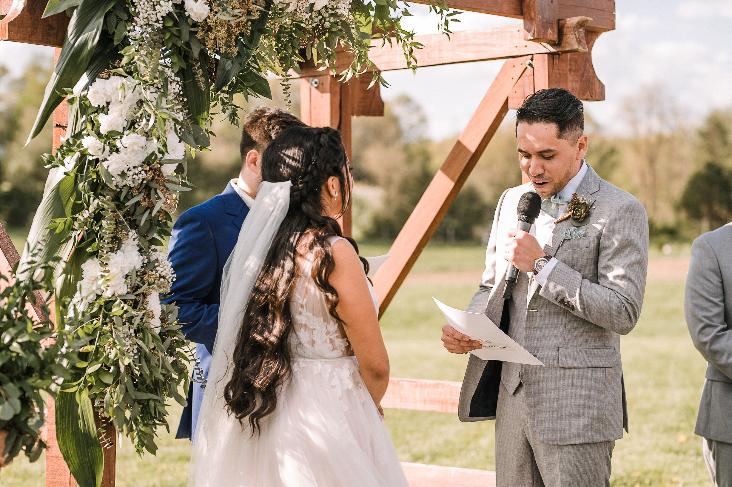groom saying his vows at the Faithbrooke Barn & Vineyards