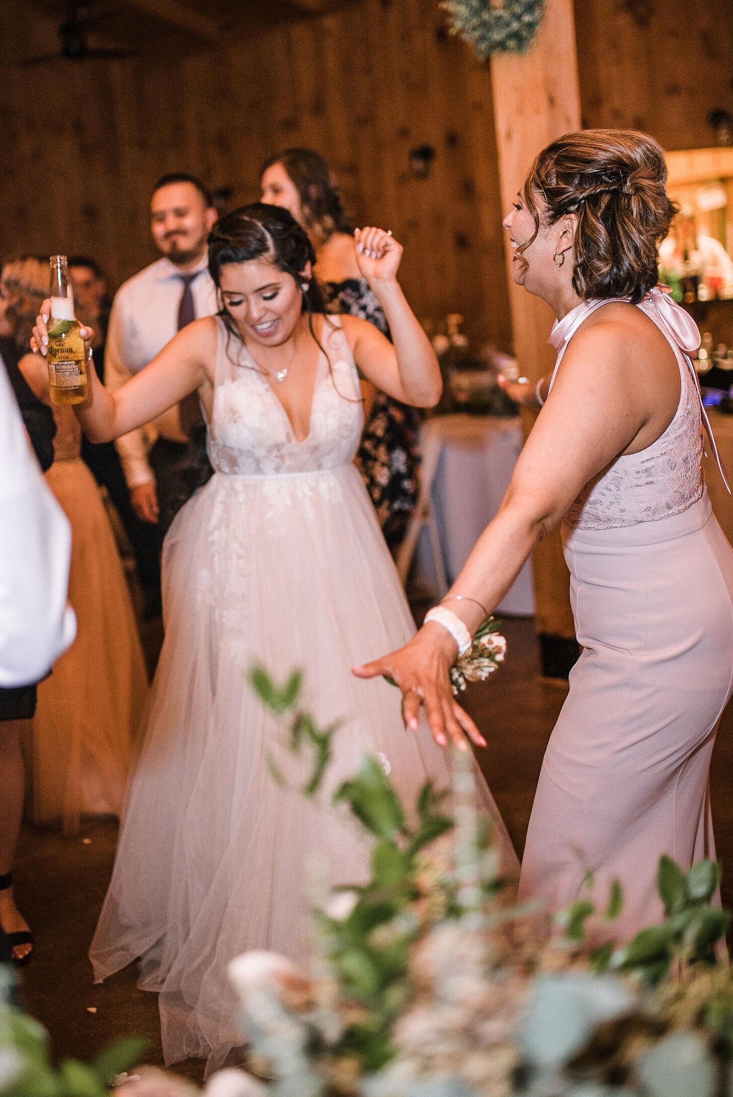 bride dancing at reception at the Faithbrooke Barn & Vineyards