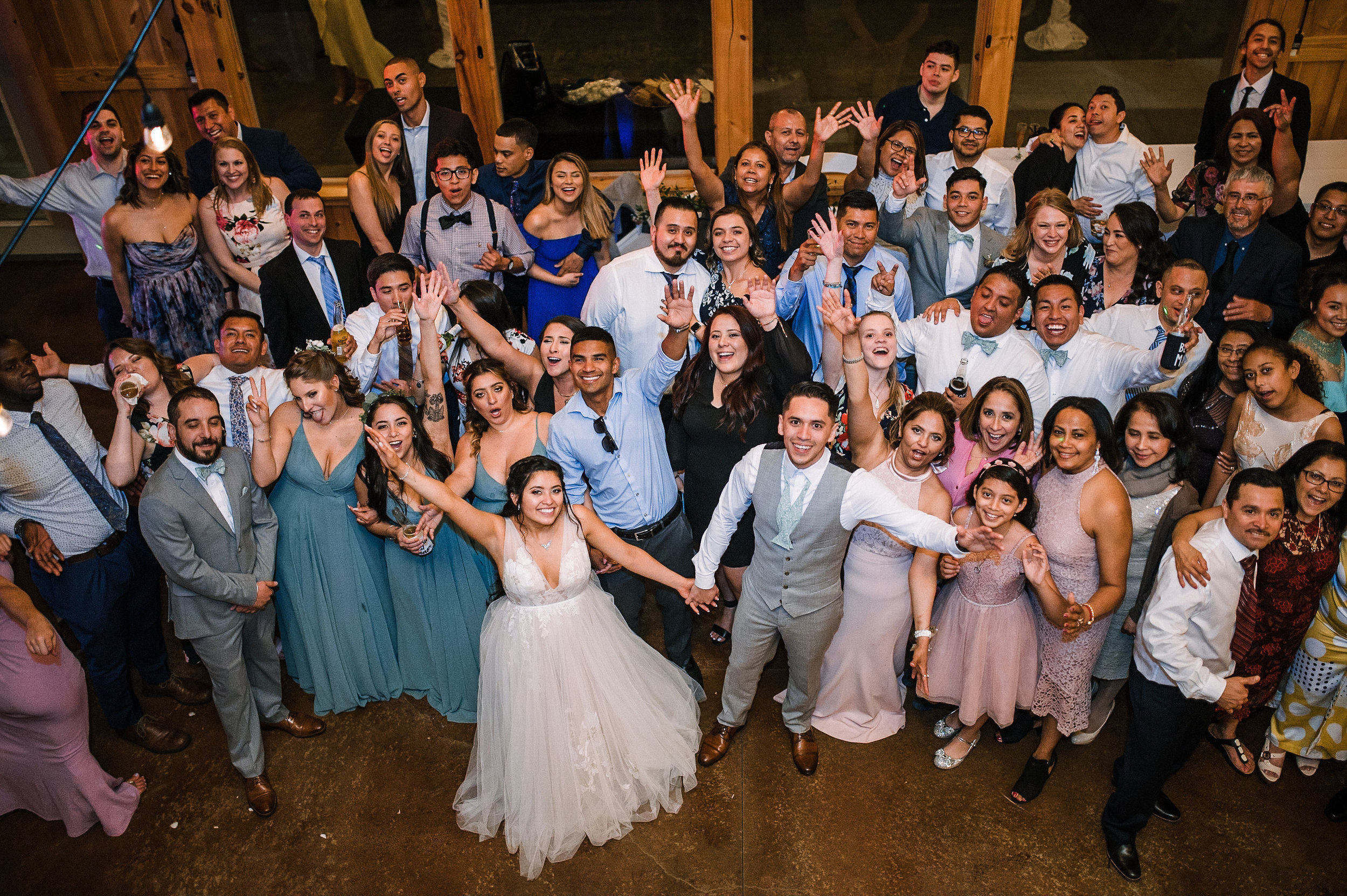 bride and groom with wedding guests at the Faithbrooke Barn & Vineyards