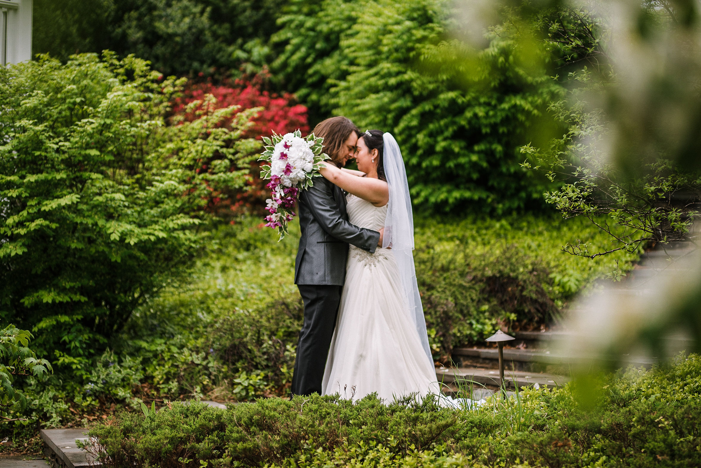 bride and groom embracing at Westfields Golf Club