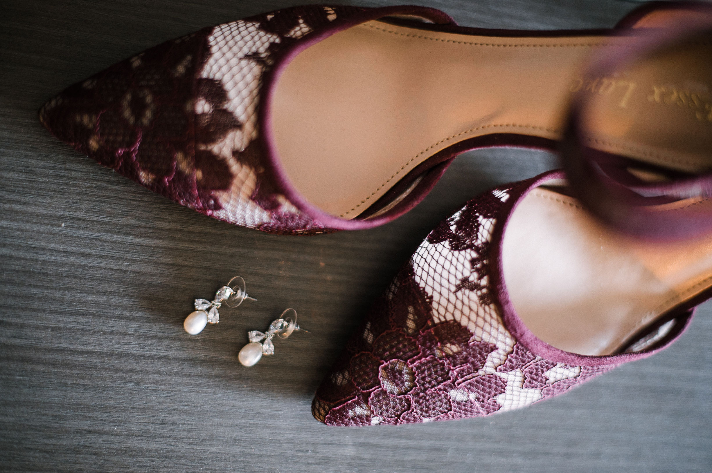 detail shot of bride's wedding shoes at westfields golf club