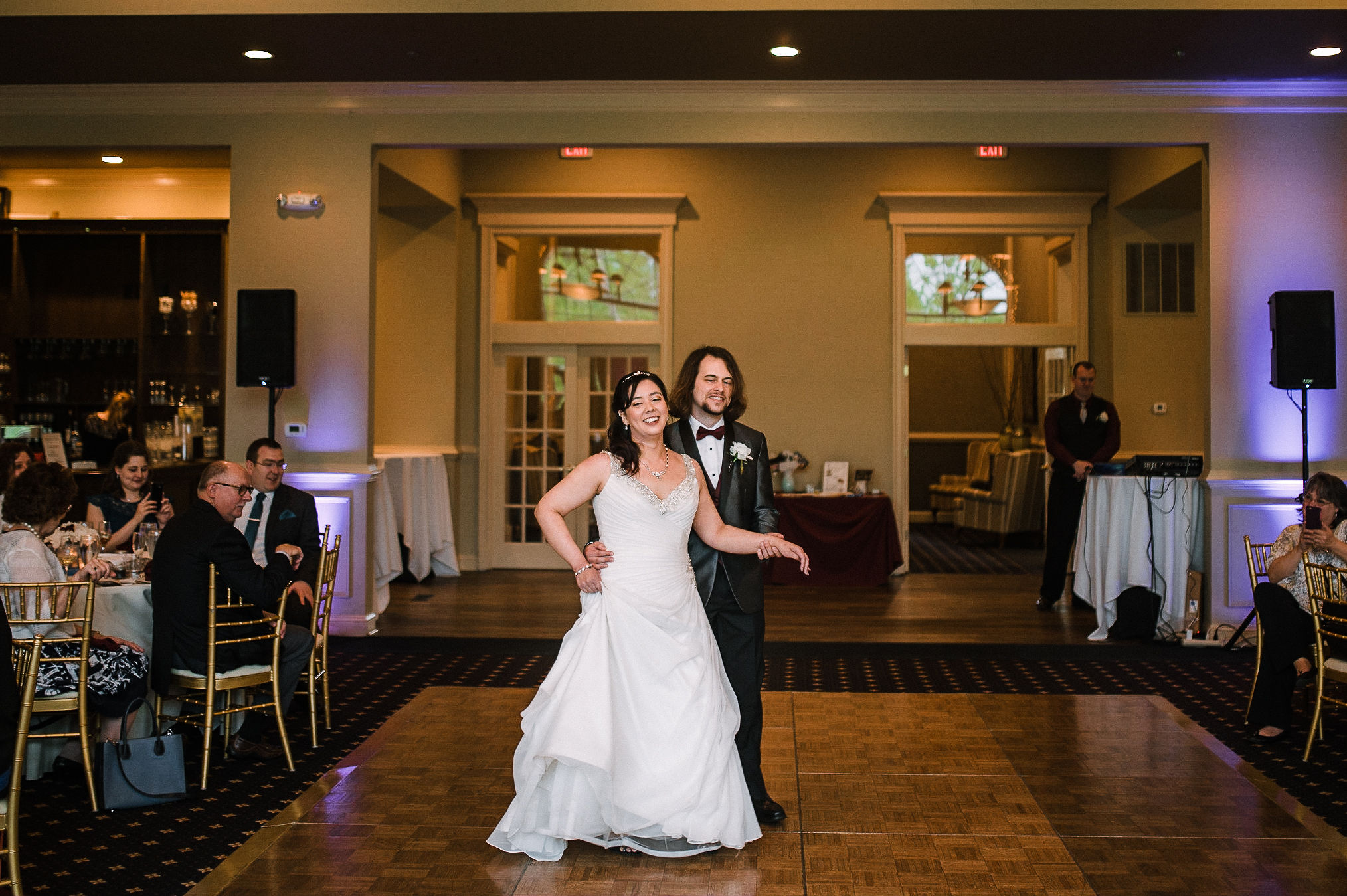bride and groom having first dance at westfields golf club