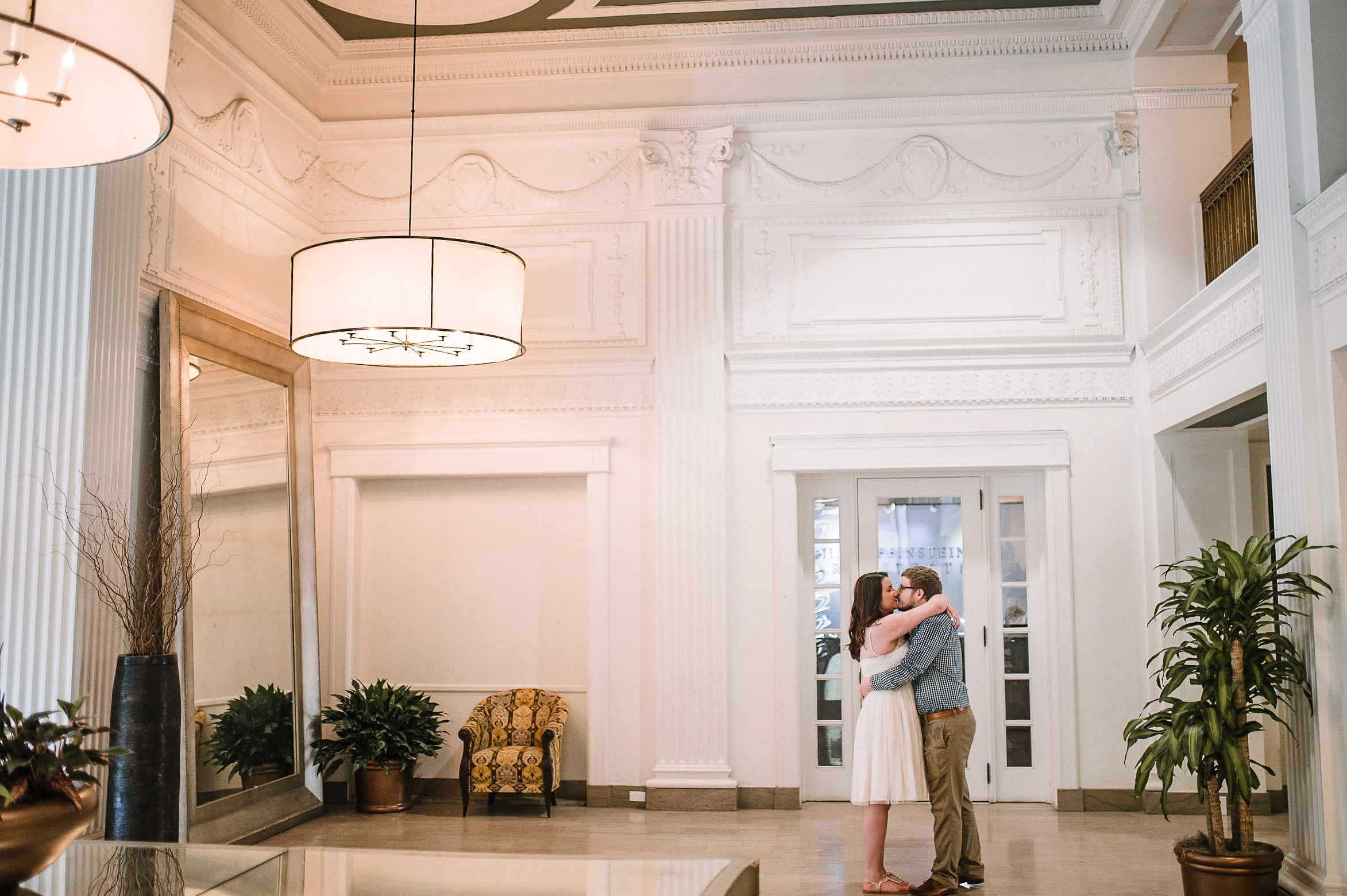 bride and groom kissing at MAVFC Reception Hall