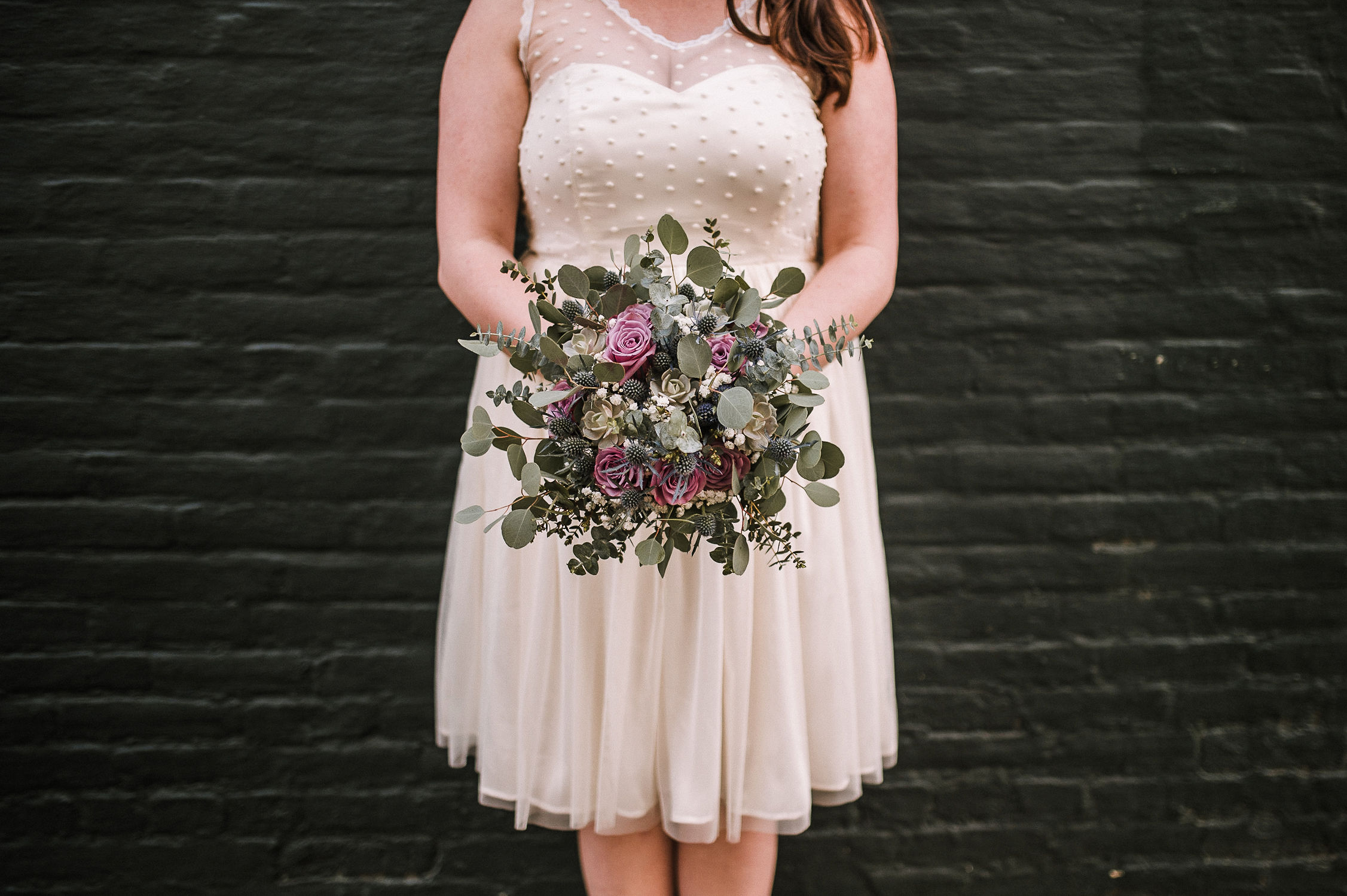 bridal portrait and bride bouquet at Frederick, Maryland