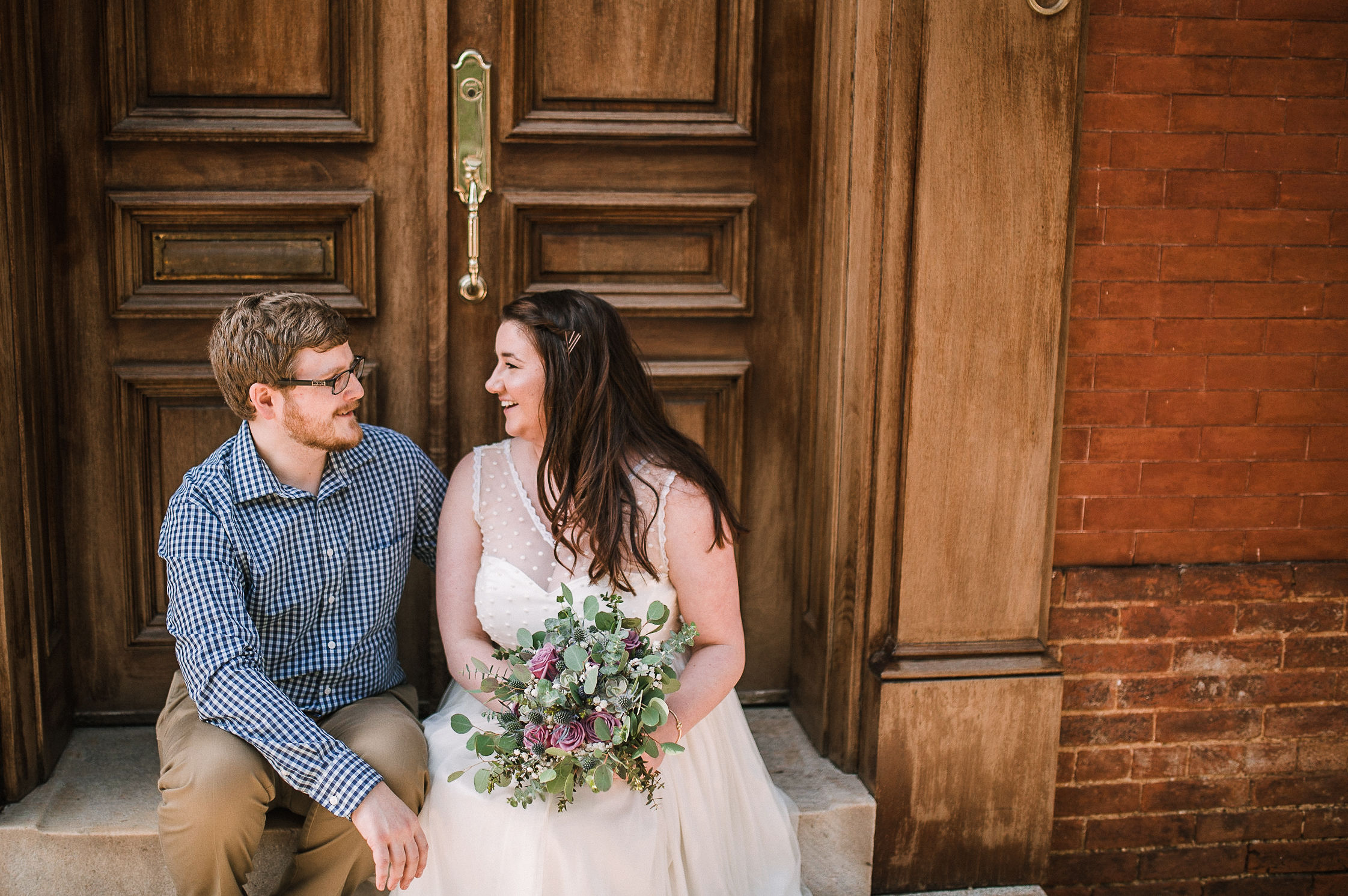 bride and groom smiling at Frederick, Maryland