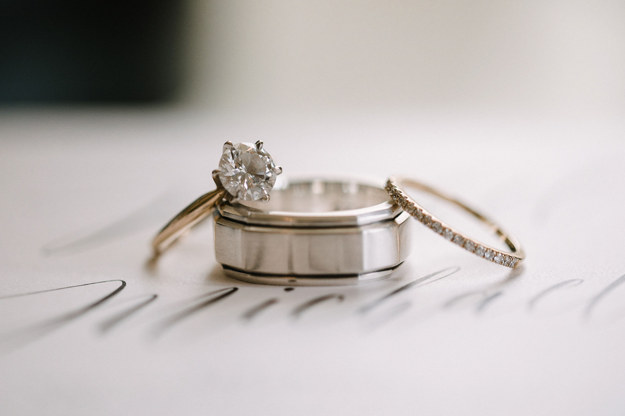detail shot of wedding rings at The Salamander Resort