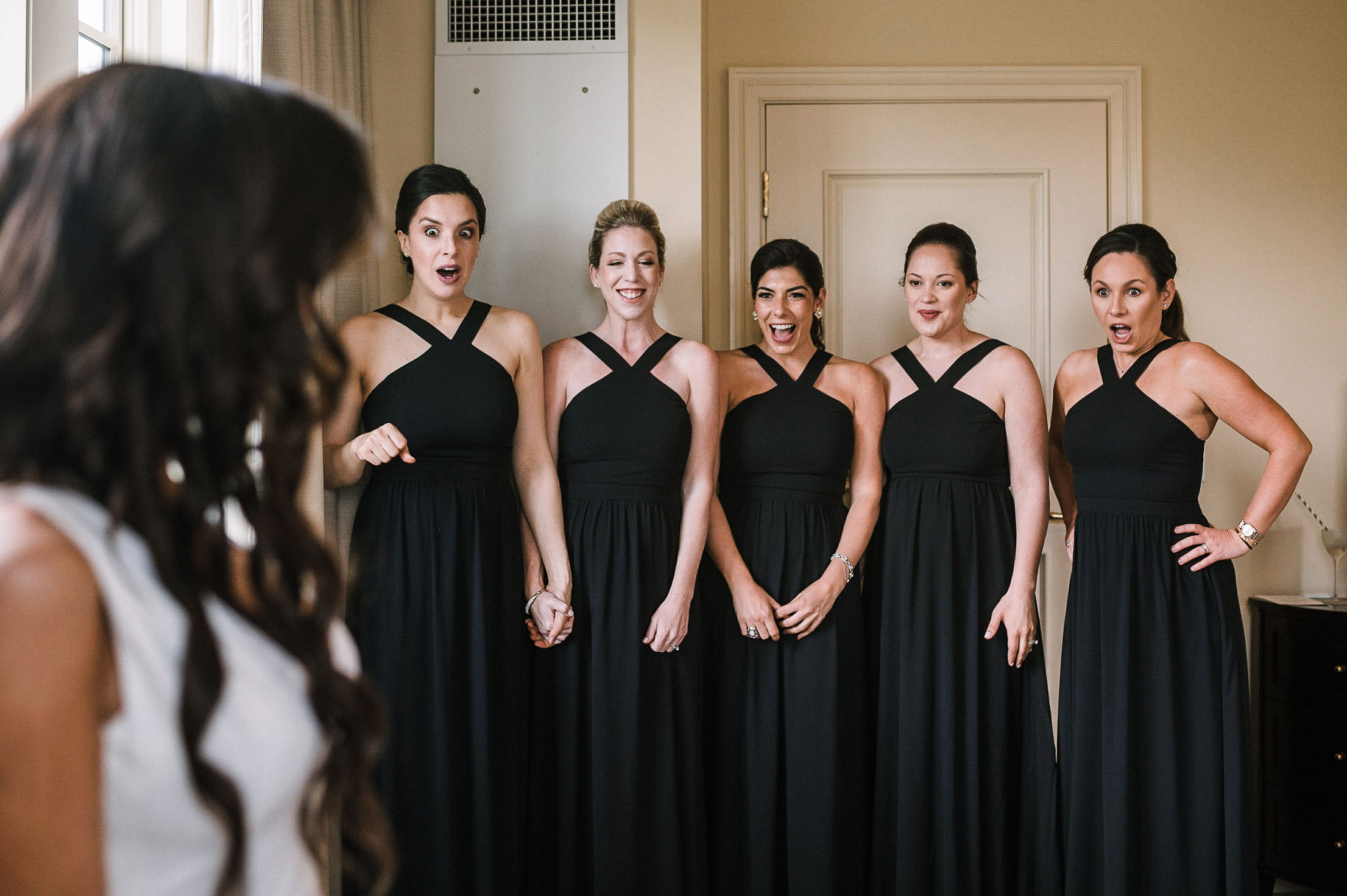 Bridemaids see bride for first time at The Salamander Resort
