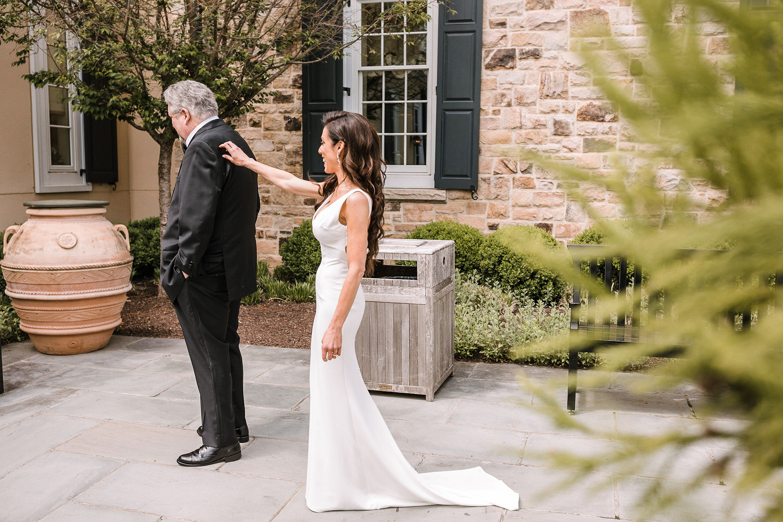 Bride does a first look with her father at The Salamander Resort