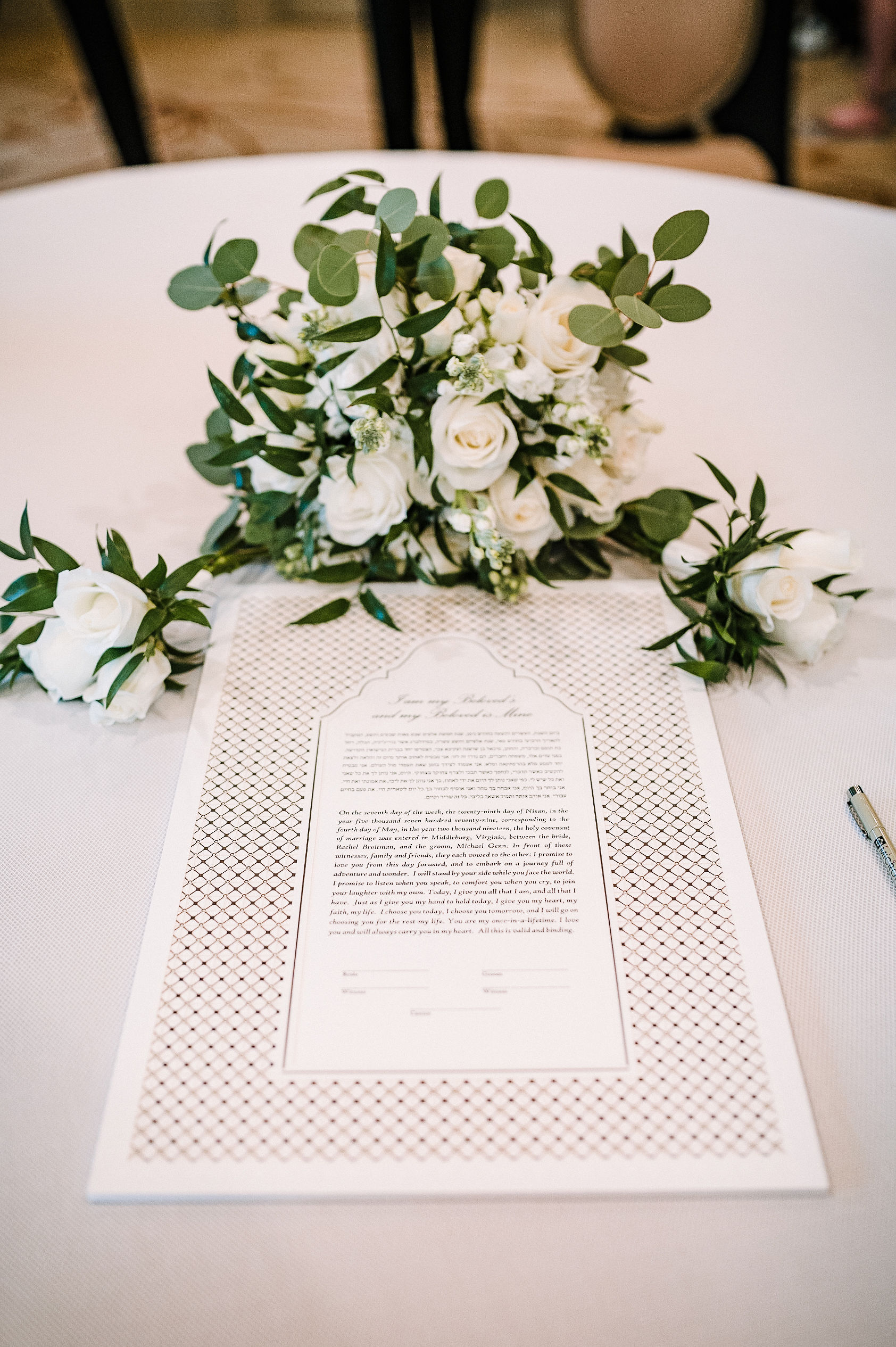 detail shot of ketubah at The Salamander Resort