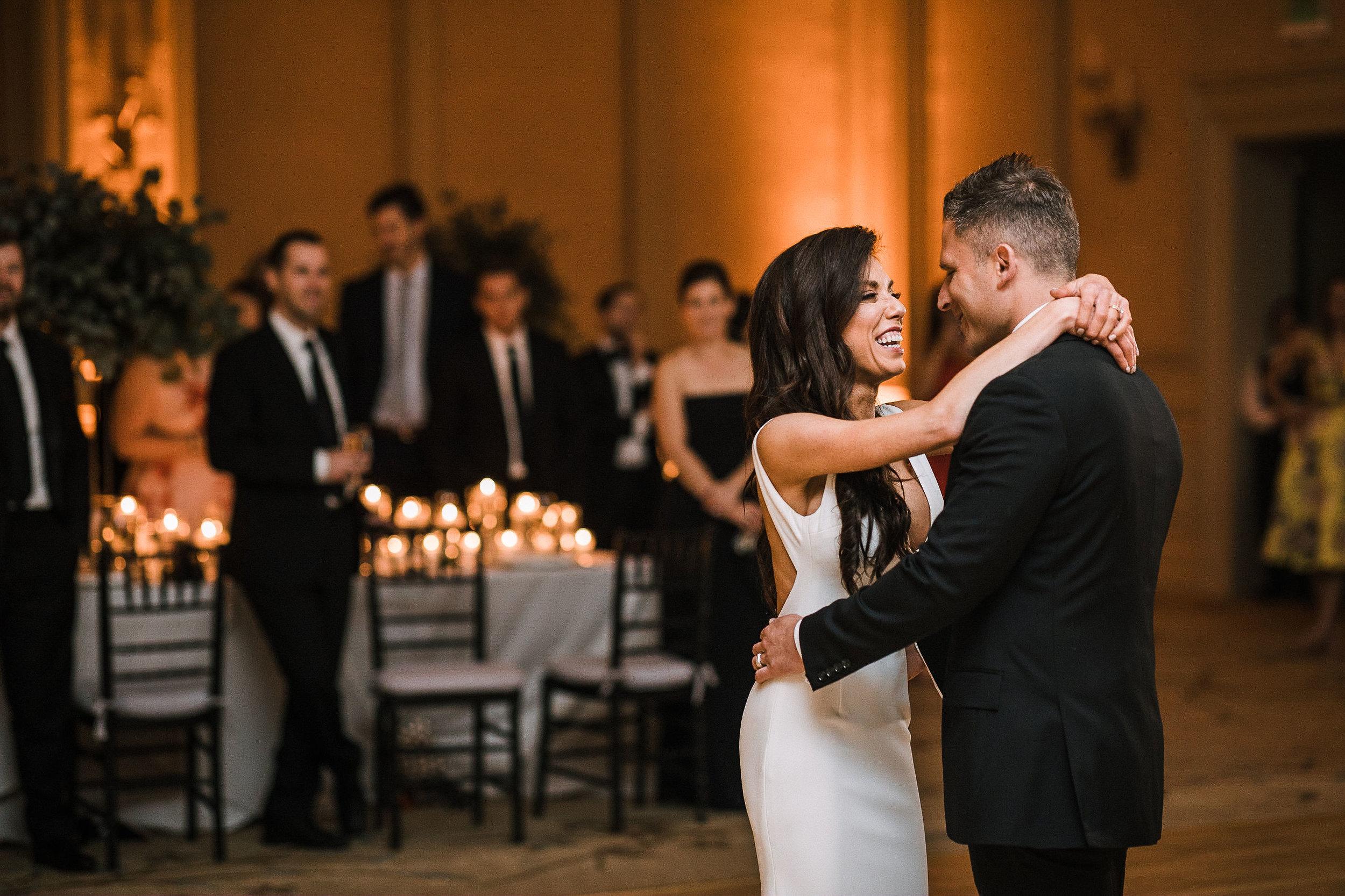 bride and groom having first dance at The Salamander Resort