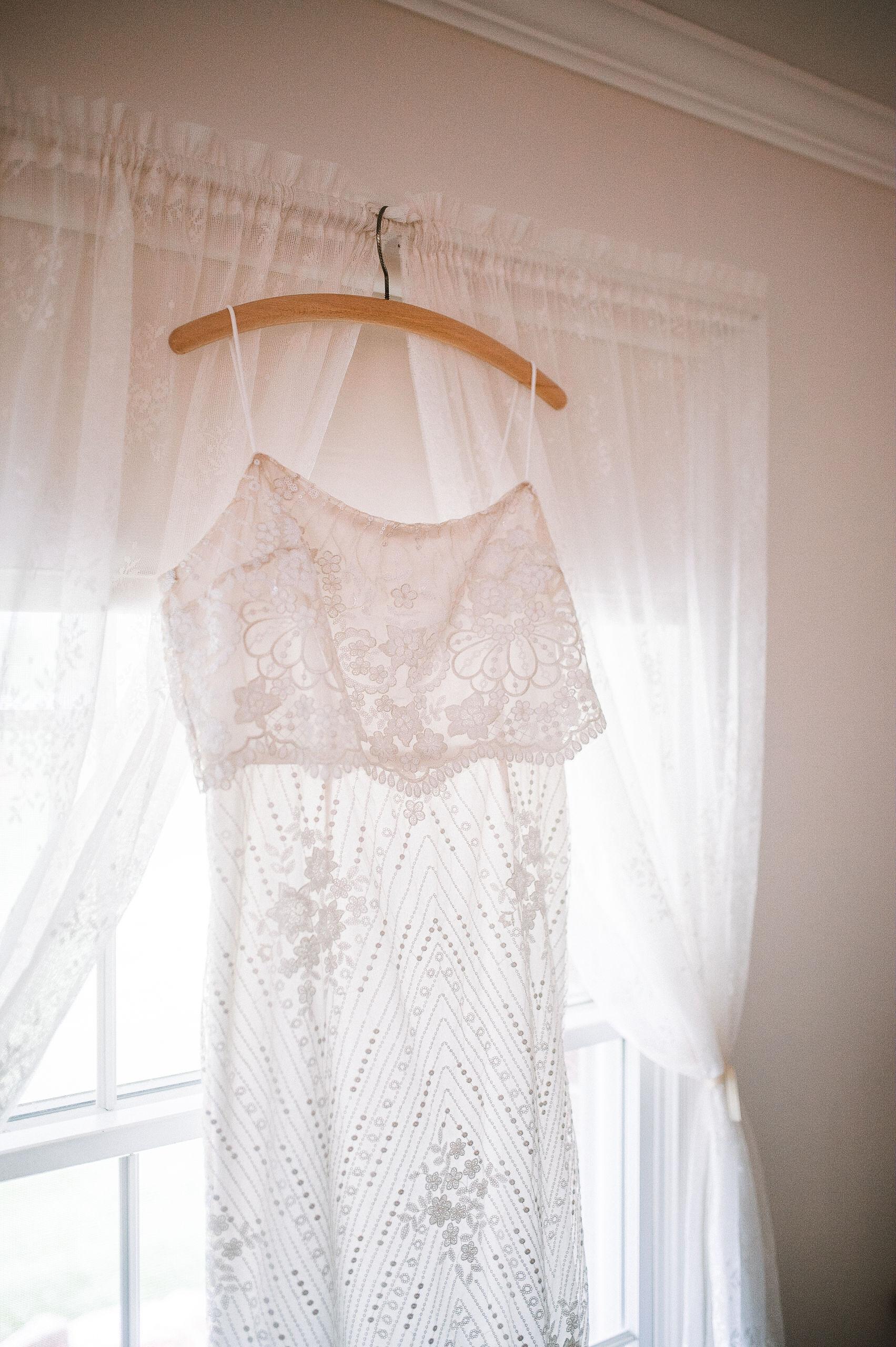 detail shot of bride's wedding dress at MAVFC Reception Hall