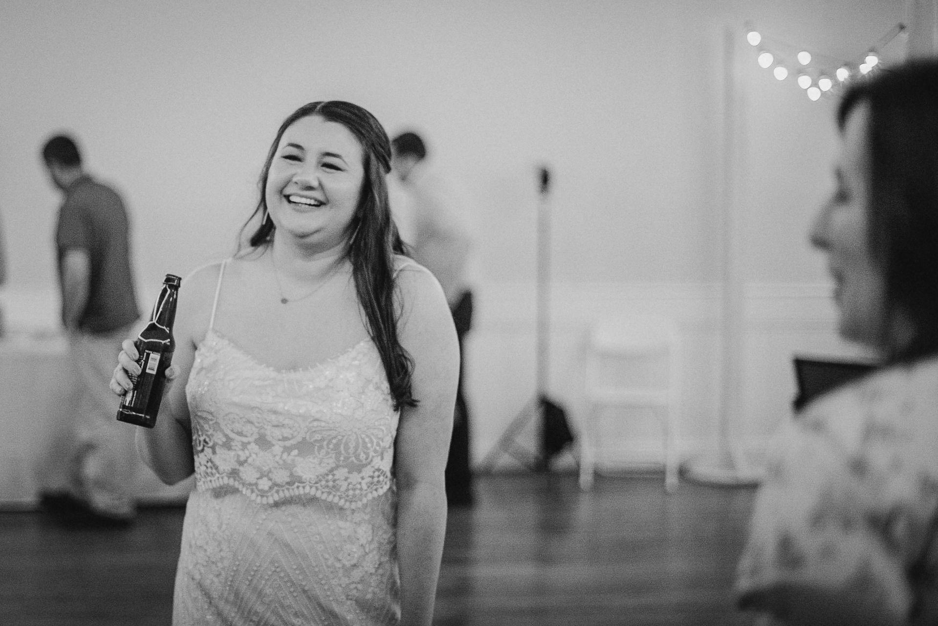 bride socializing at wedding reception at MAVFC Reception Hall