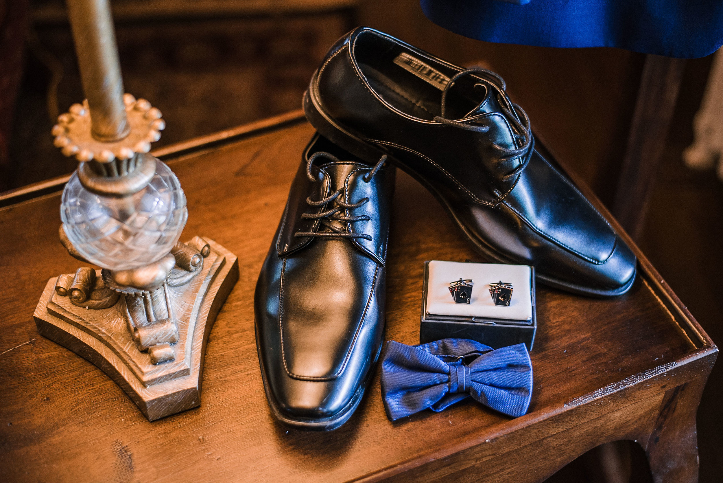 detail shot of groom's shoes and bow tie at Seasons at Magnolia Manor