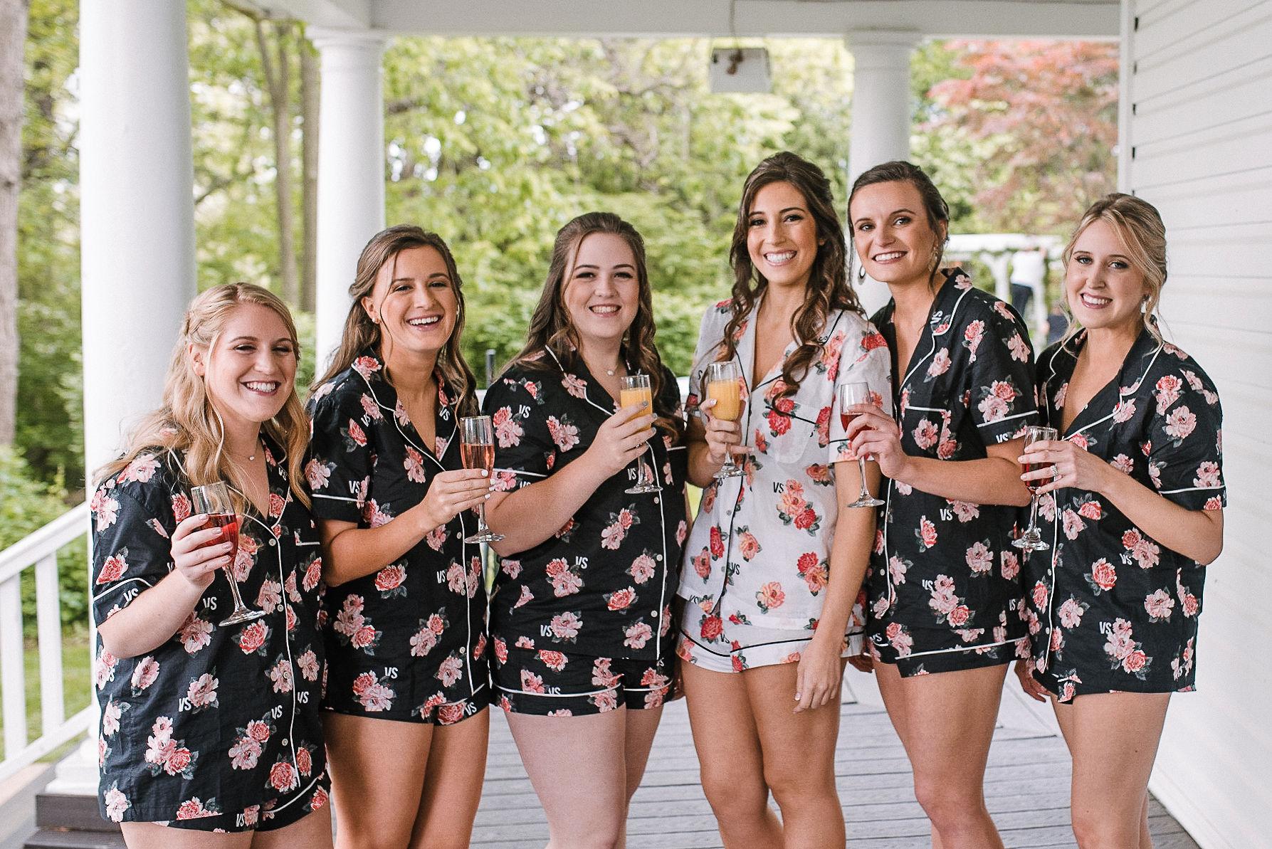 bride and bridesmaids having mimosas at Seasons at Magnolia Manor