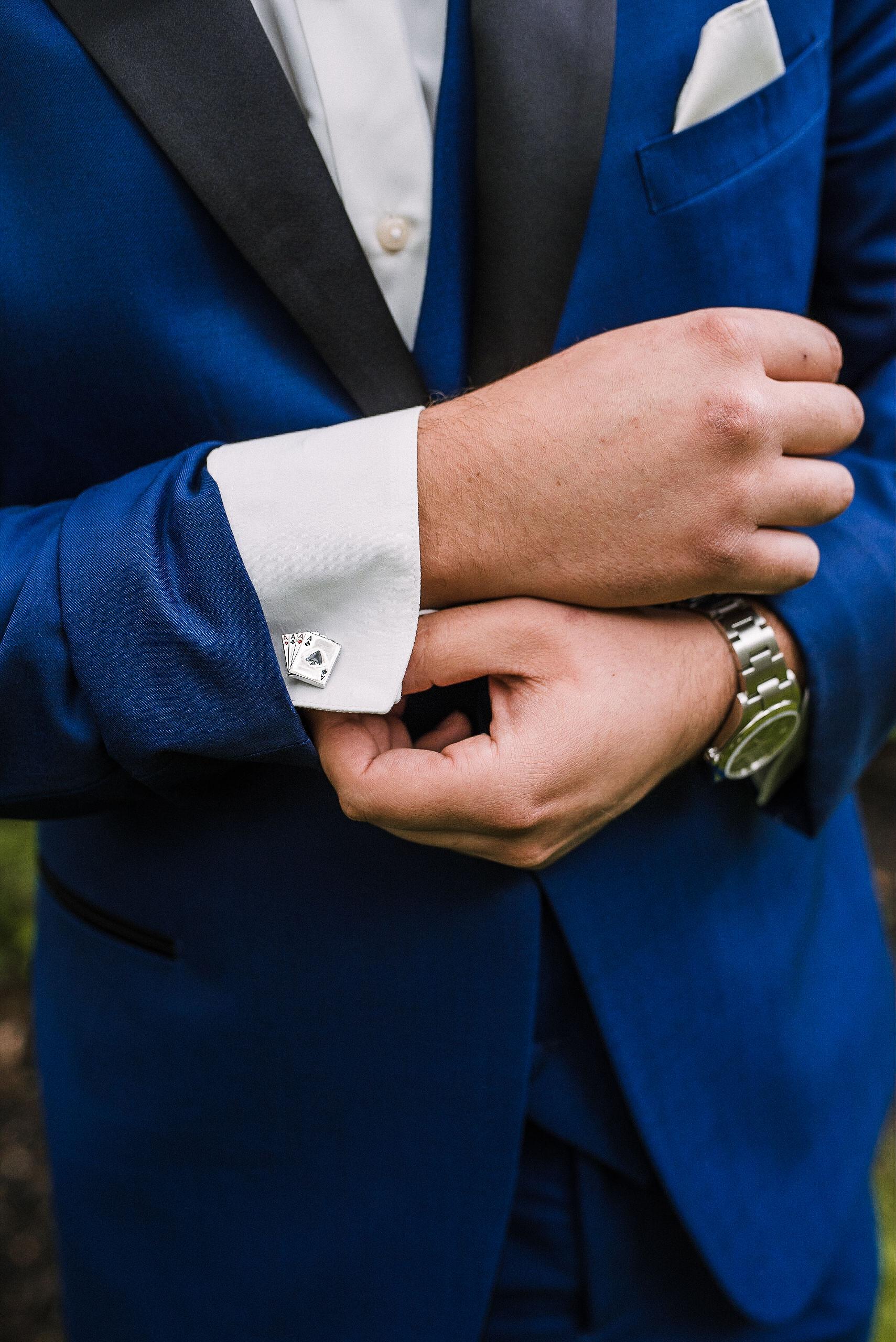 detail shot of groom's cufflinks at Seasons at Magnolia Manor