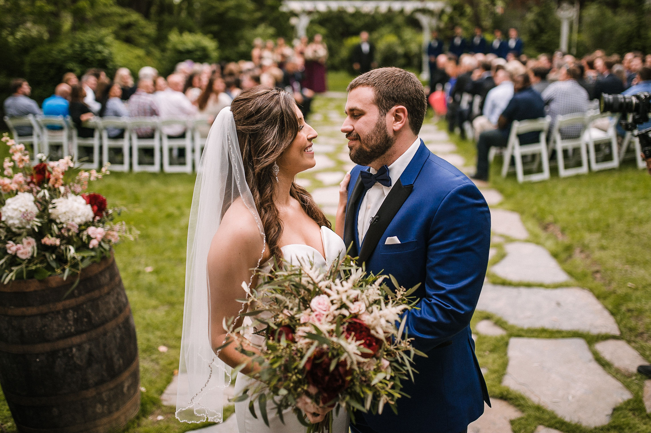 bride and groom smiling at each other at Seasons at Magnolia Manor