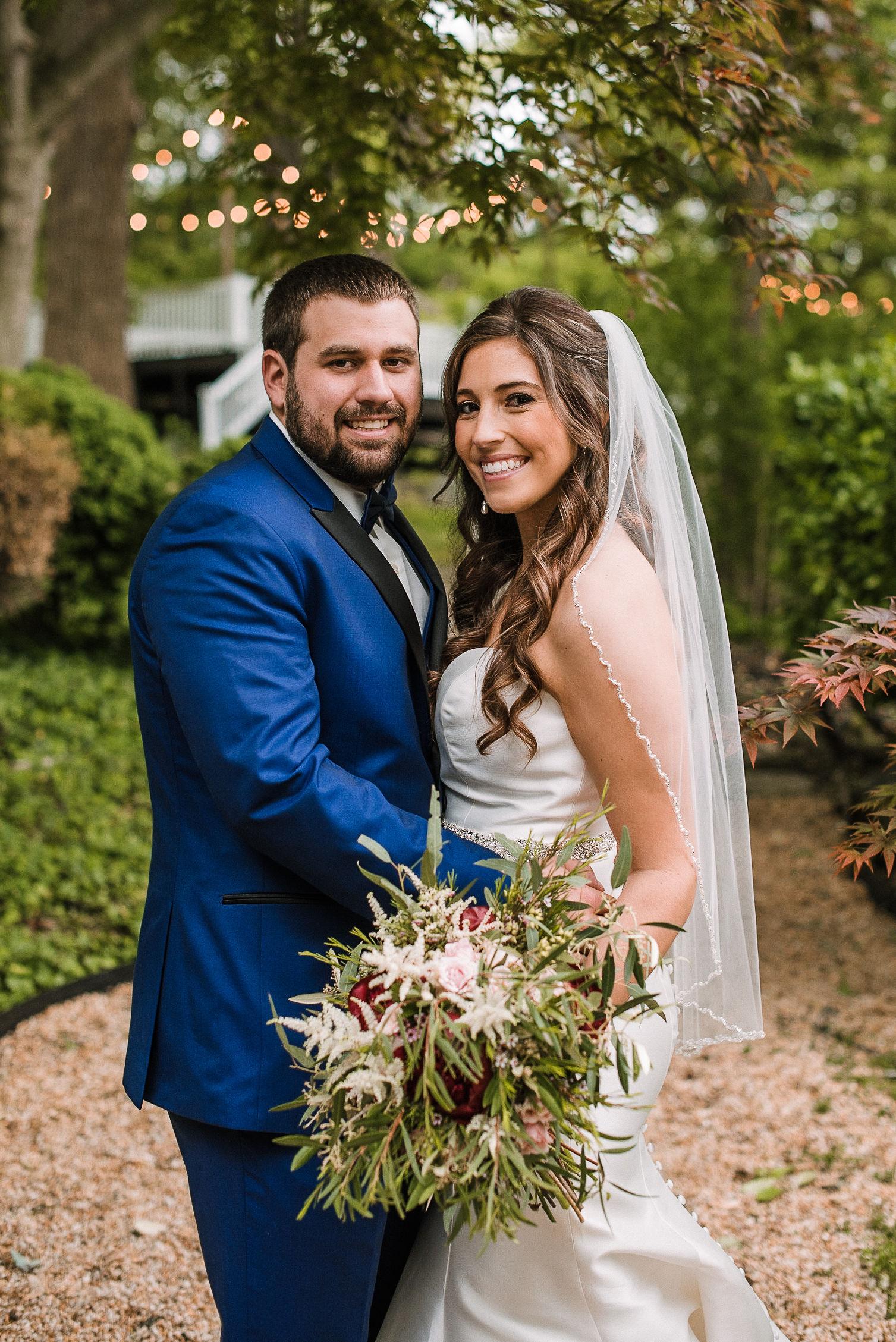 bride and groom smiling at Seasons at Magnolia Manor