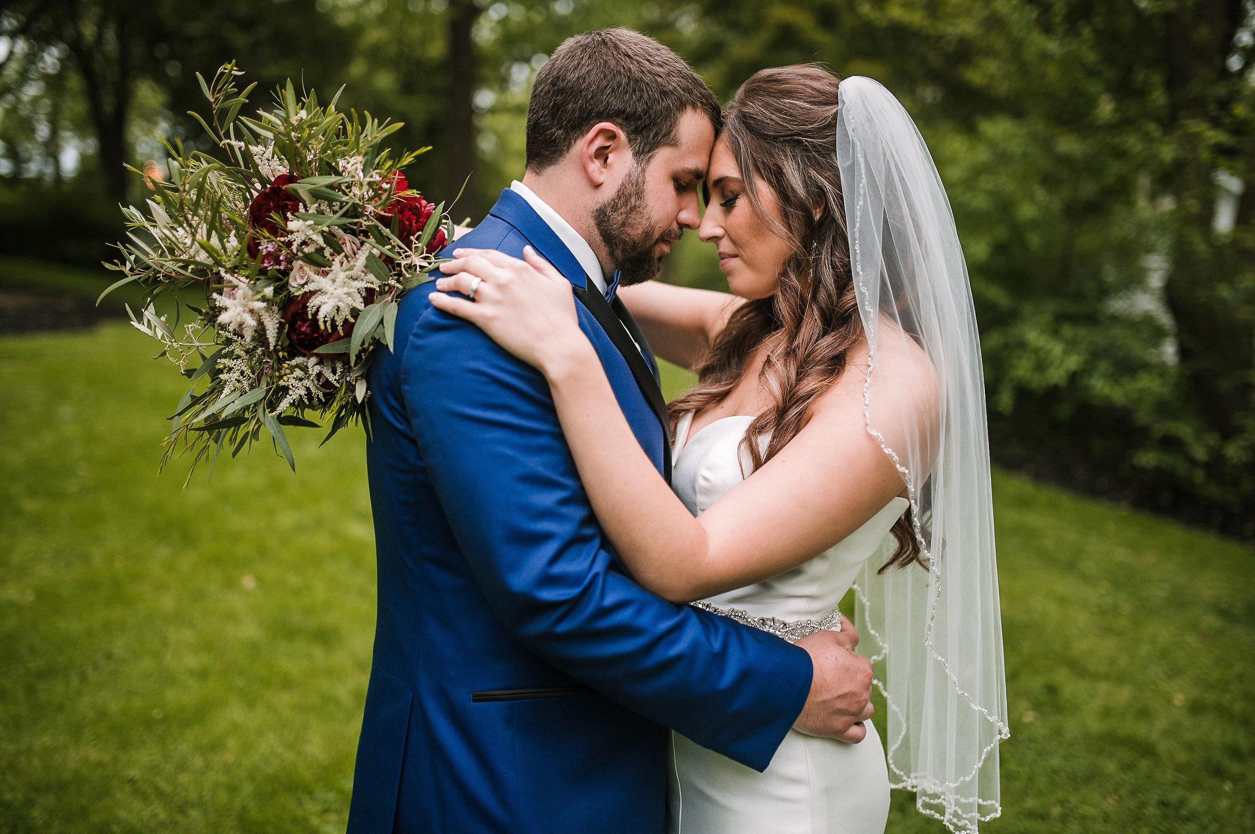 bride and groom embracing at Seasons at Magnolia Manor