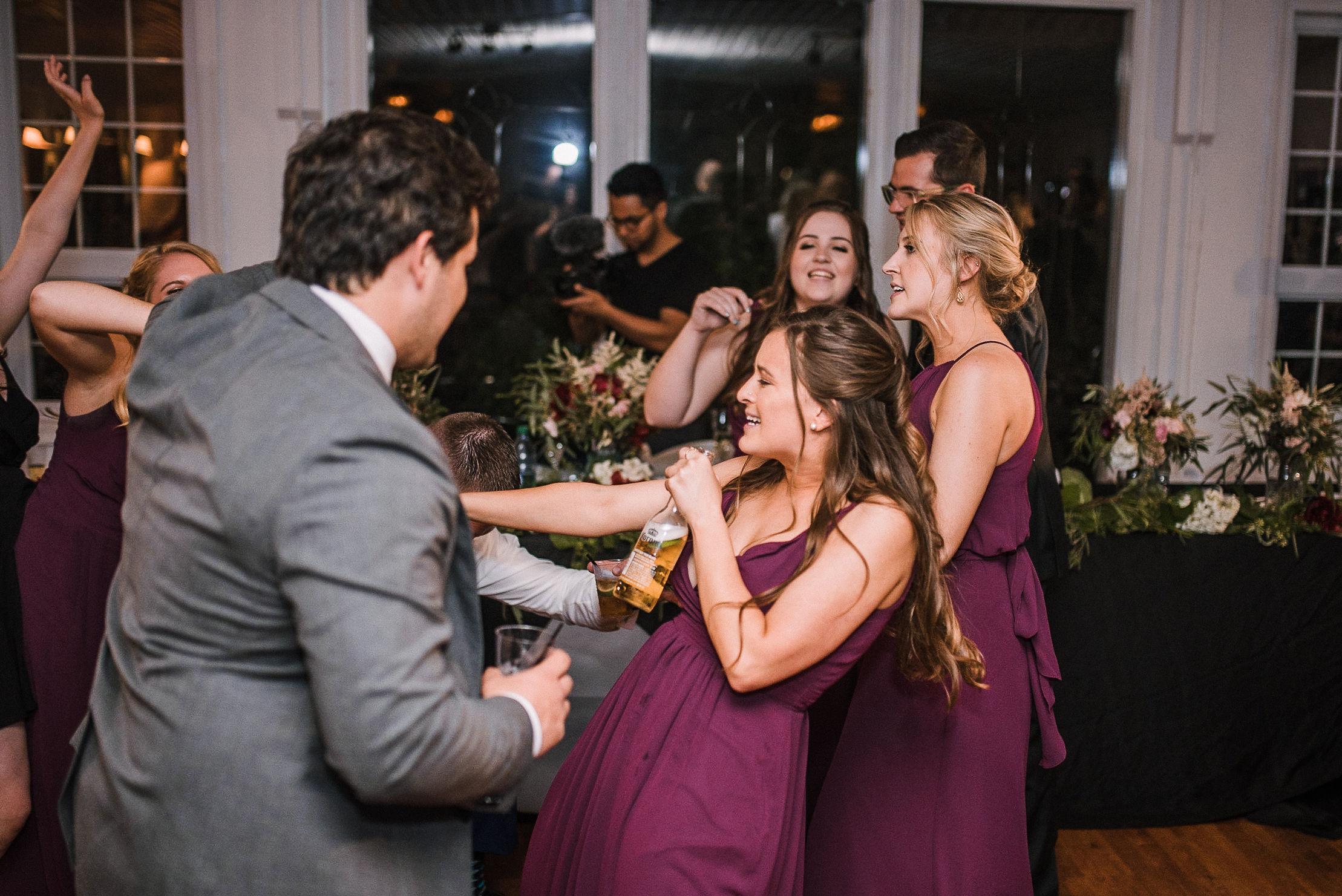 guests dancing at wedding reception at Seasons at Magnolia Manor