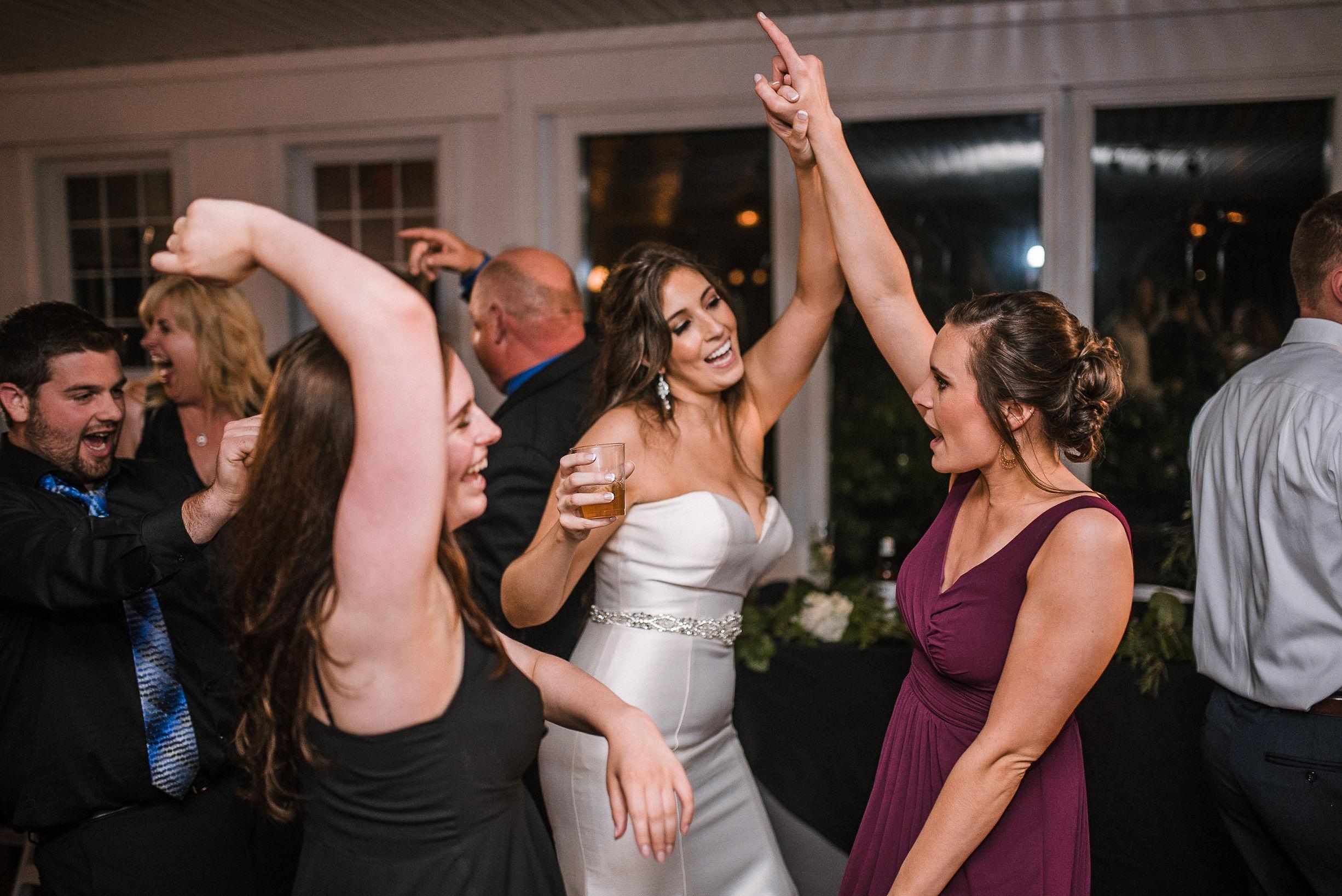 bride and guests dancing at wedding reception at Seasons at Magnolia Manor