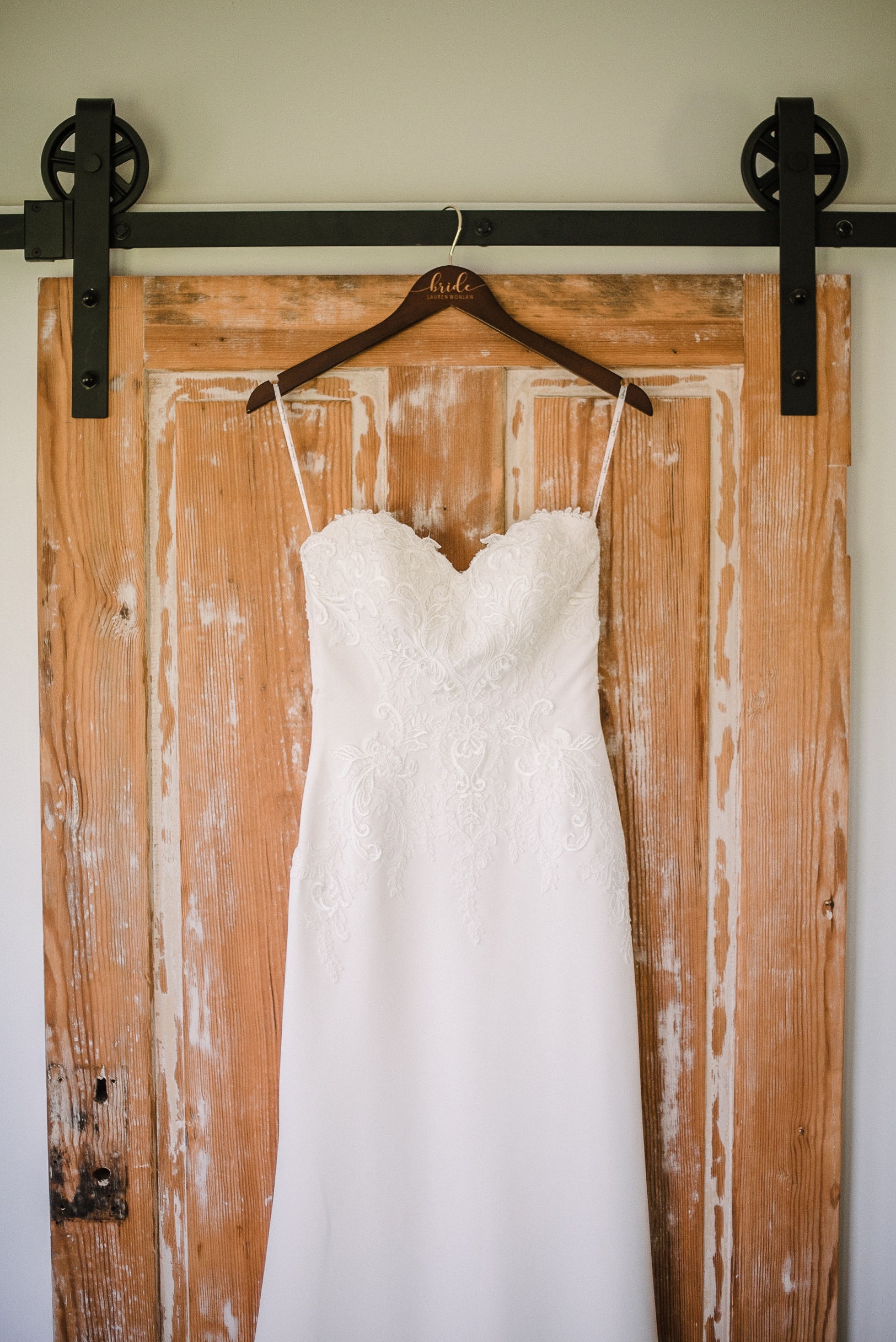 detail shot of wedding dress at House Mountain Inn & Irvine Estate