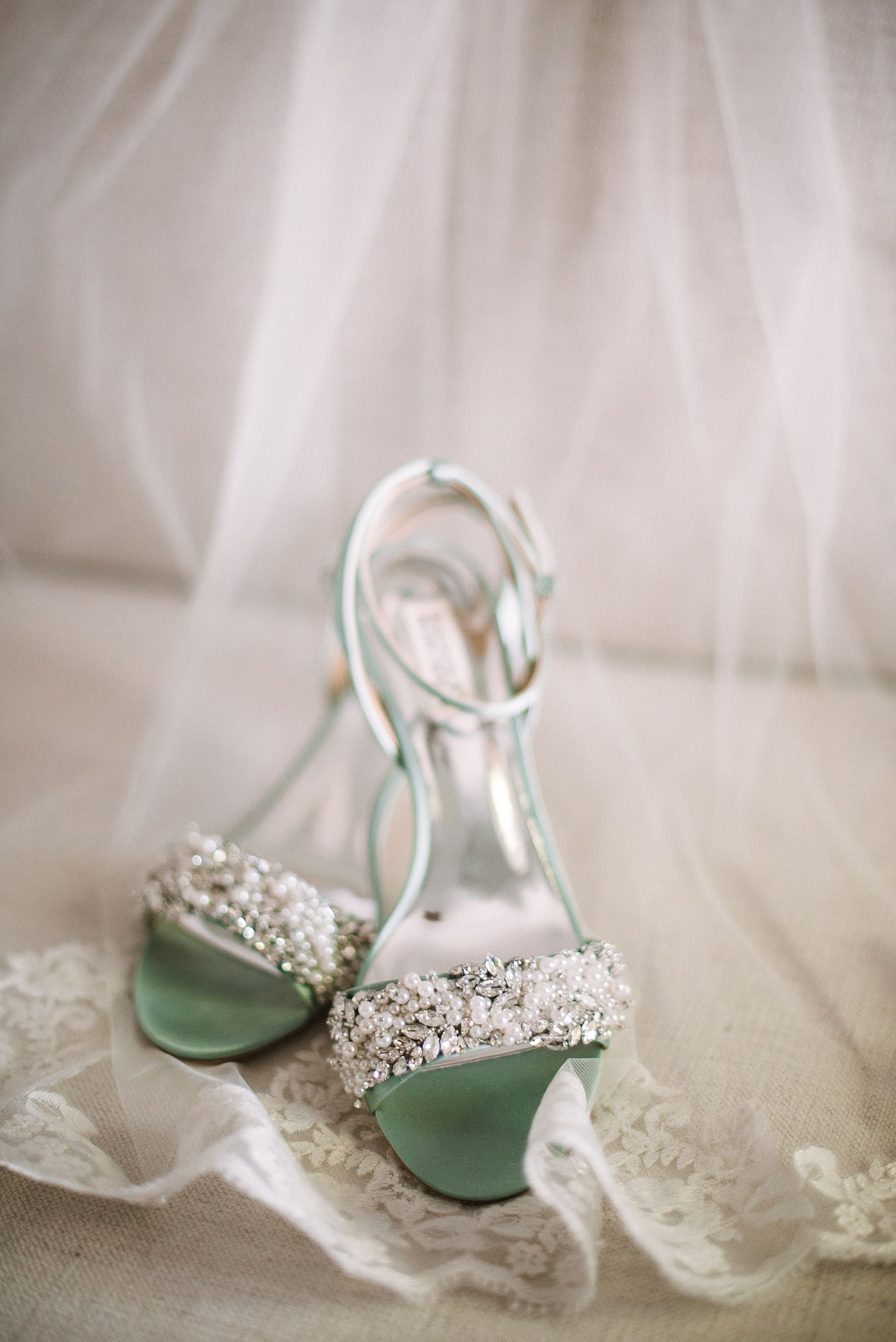 detail shot of bride's shoes at House Mountain Inn & Irvine Estate