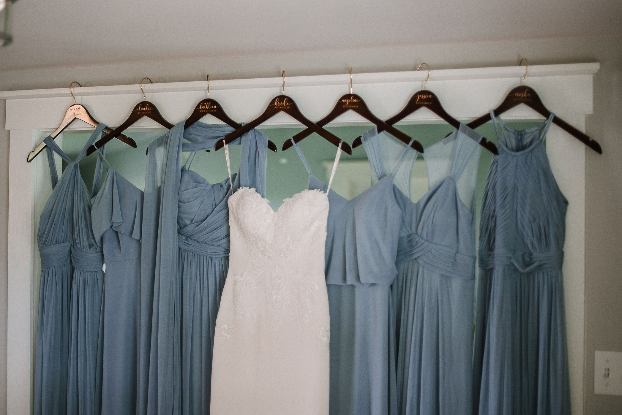 detail shot of bride and bridesmaids dresses at House Mountain Inn & Irvine Estate