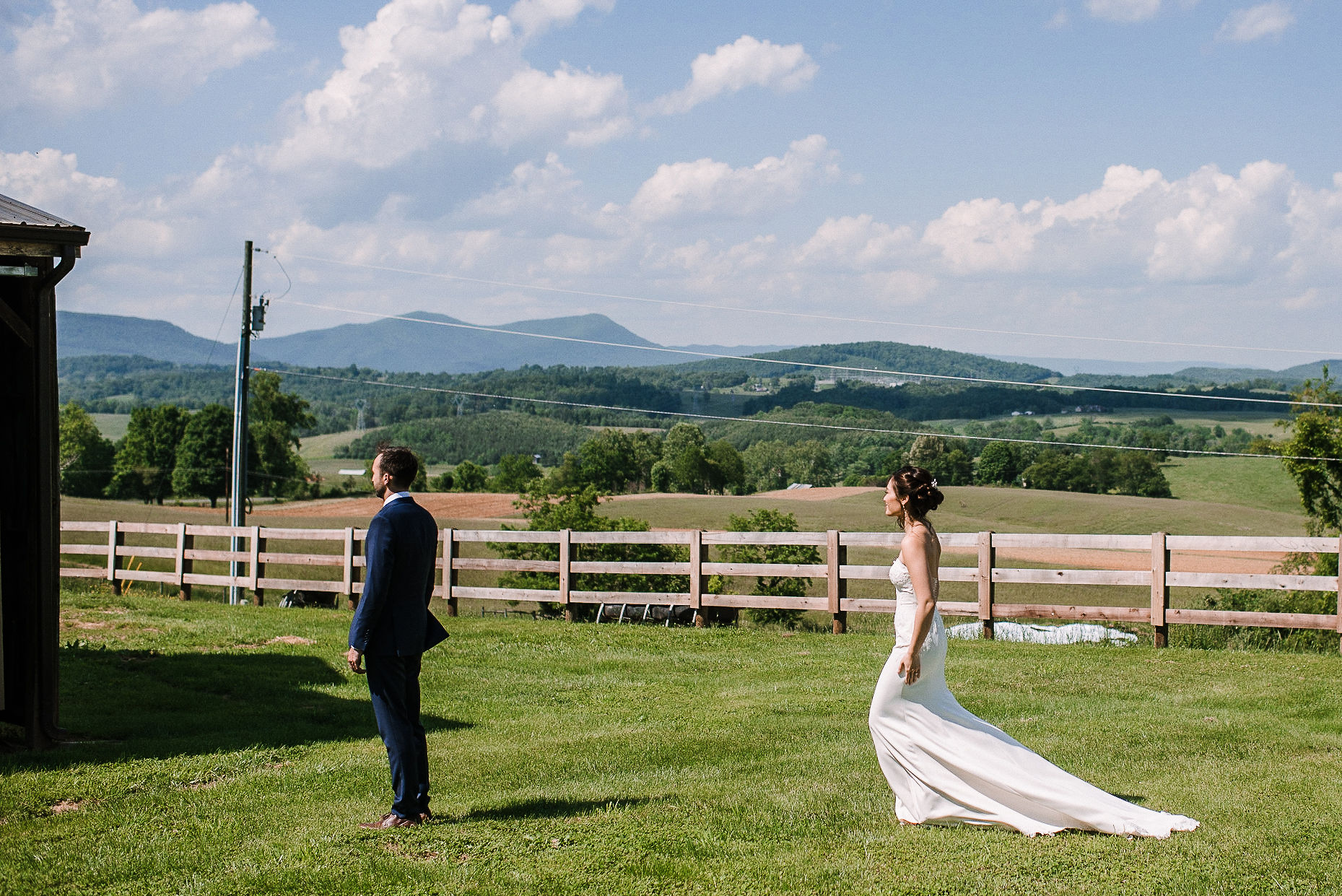 bride doing a first look with groom at House Mountain Inn & Irvine Estate