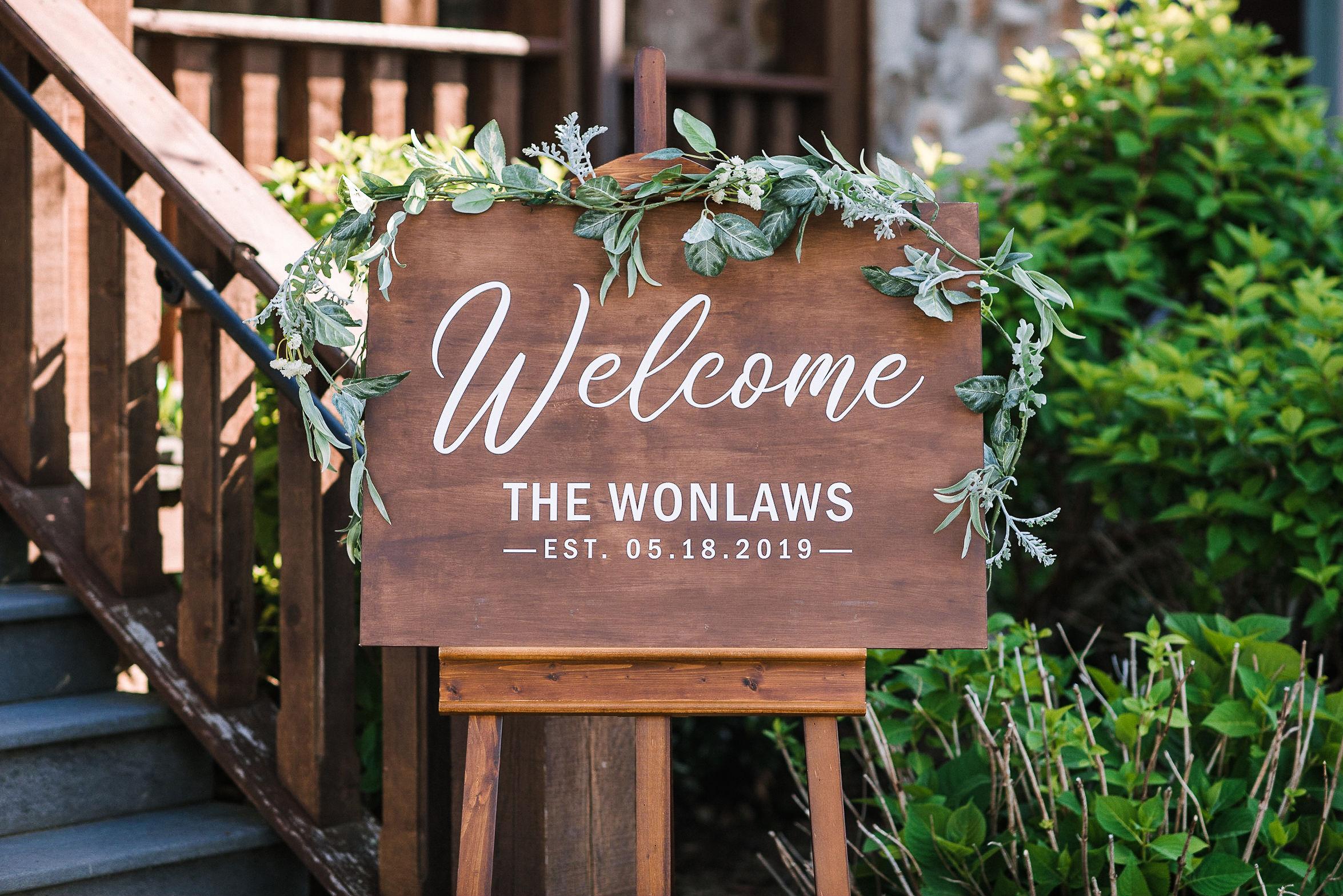 wedding sign detail at House Mountain Inn & Irvine Estate