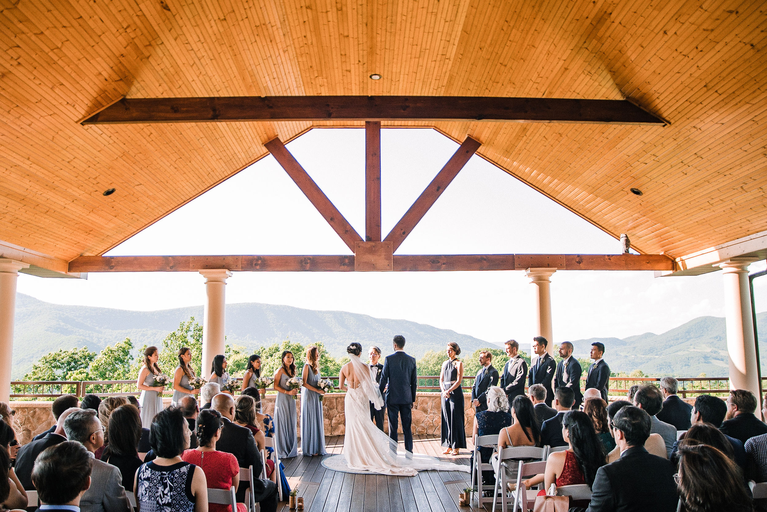 bride and groom at the altar at House Mountain Inn & Irvine Estate