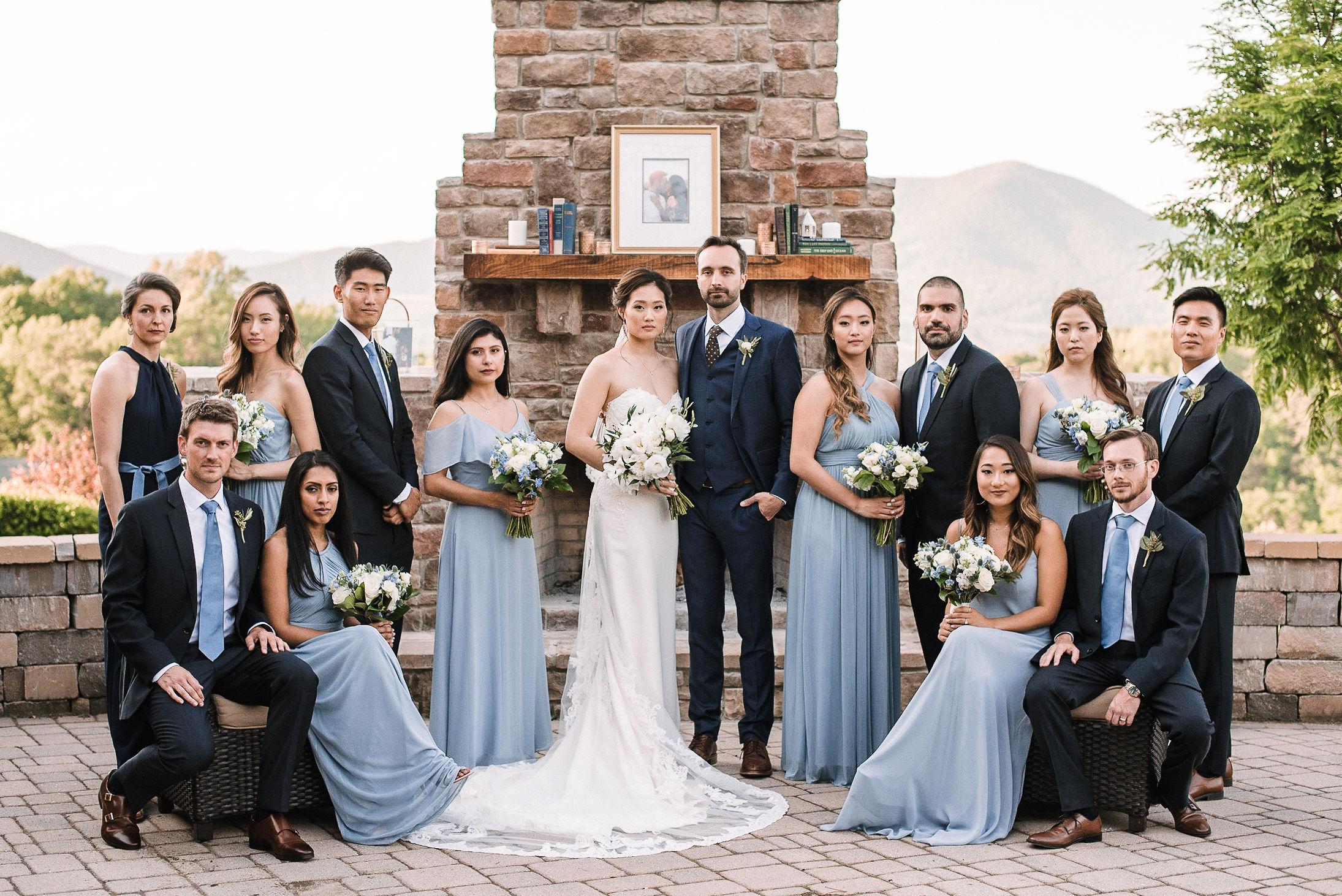 wedding party posing at House Mountain Inn & Irvine Estate