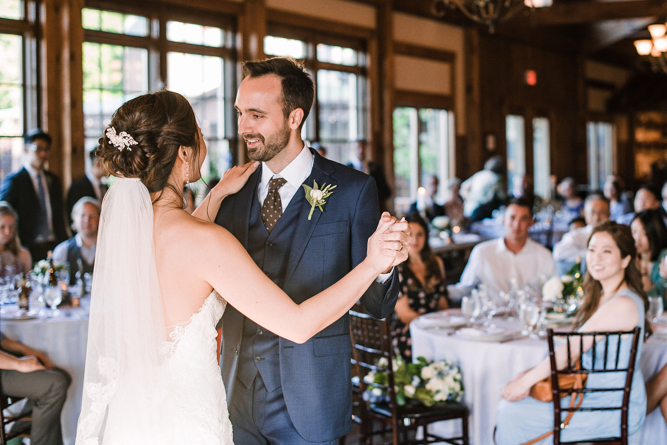 bride and groom having first dance at House Mountain Inn & Irvine Estate