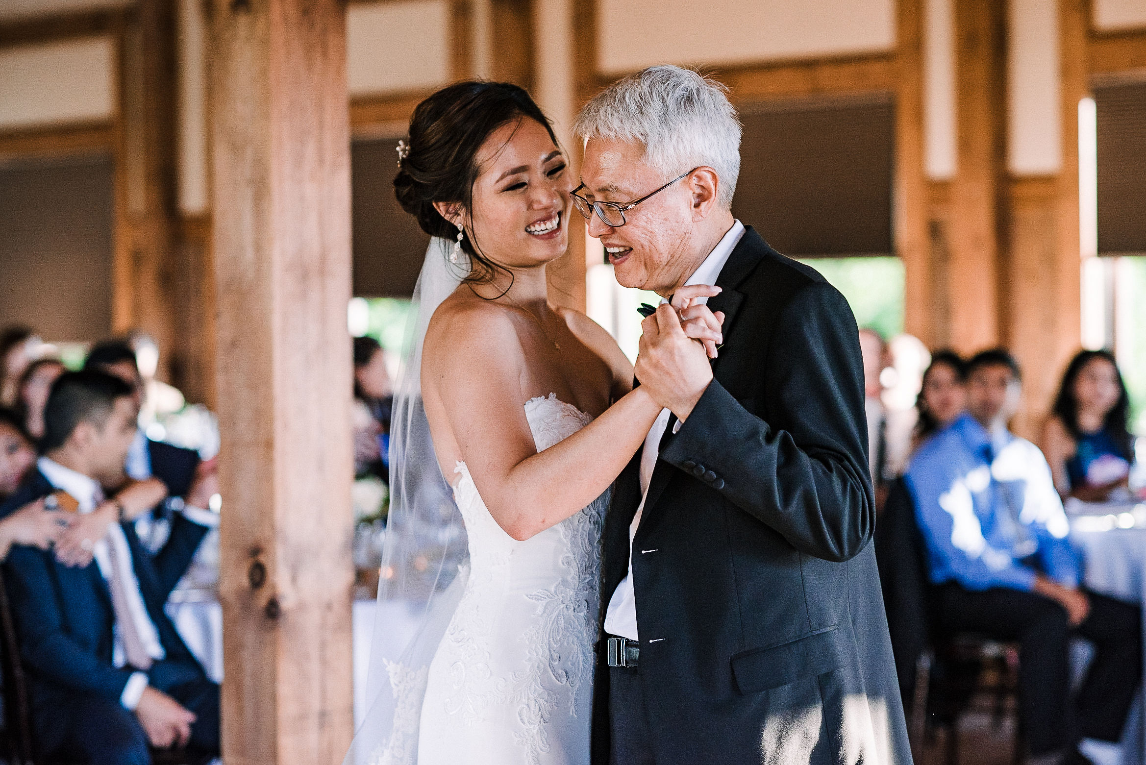 bride having first dance with her dad at House Mountain Inn & Irvine Estate
