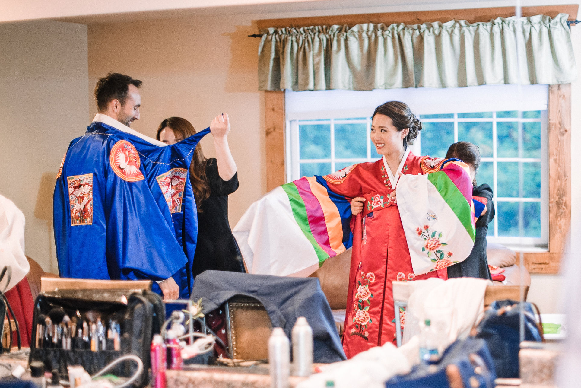 bride and groom getting ready for traditional korean ceremony at House Mountain Inn & Irvine Estate