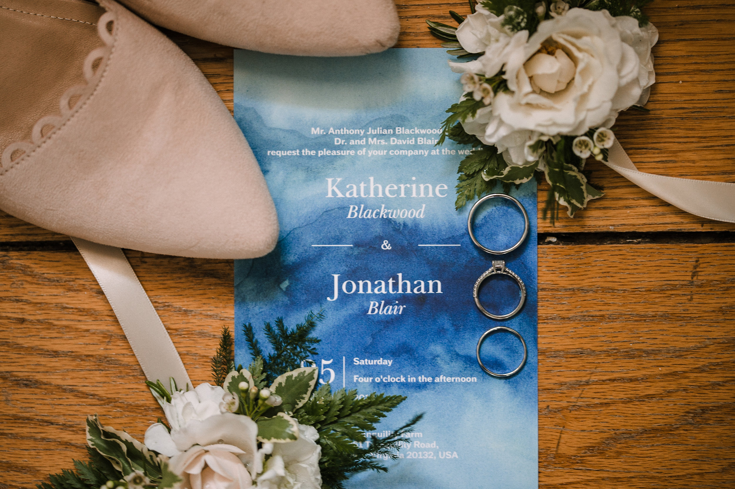 detail shot of wedding stationery at tranquility farm