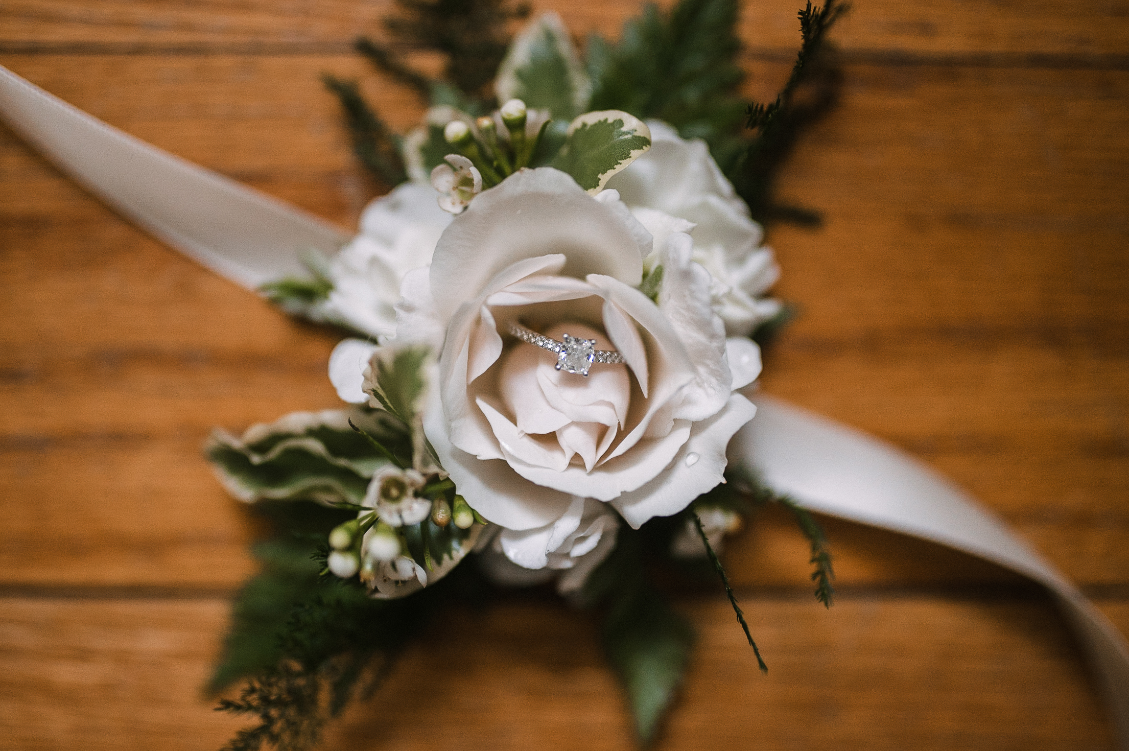 detail shot of wedding ring at tranquility farm