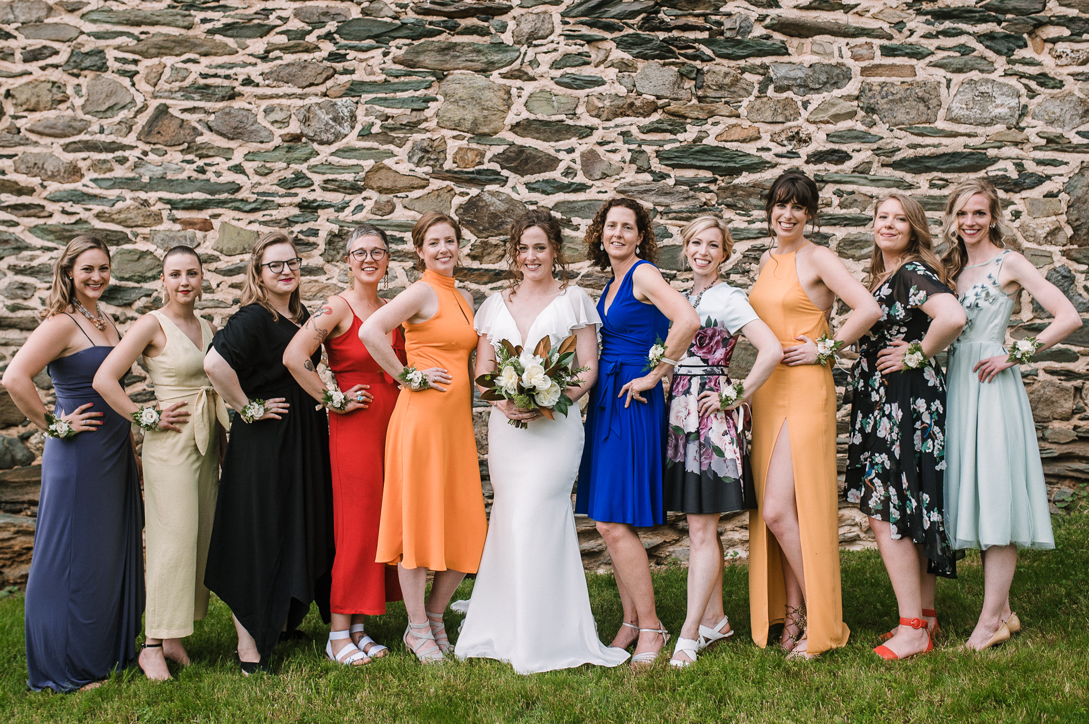 bride and bridesmaids smiling at tranquility farm