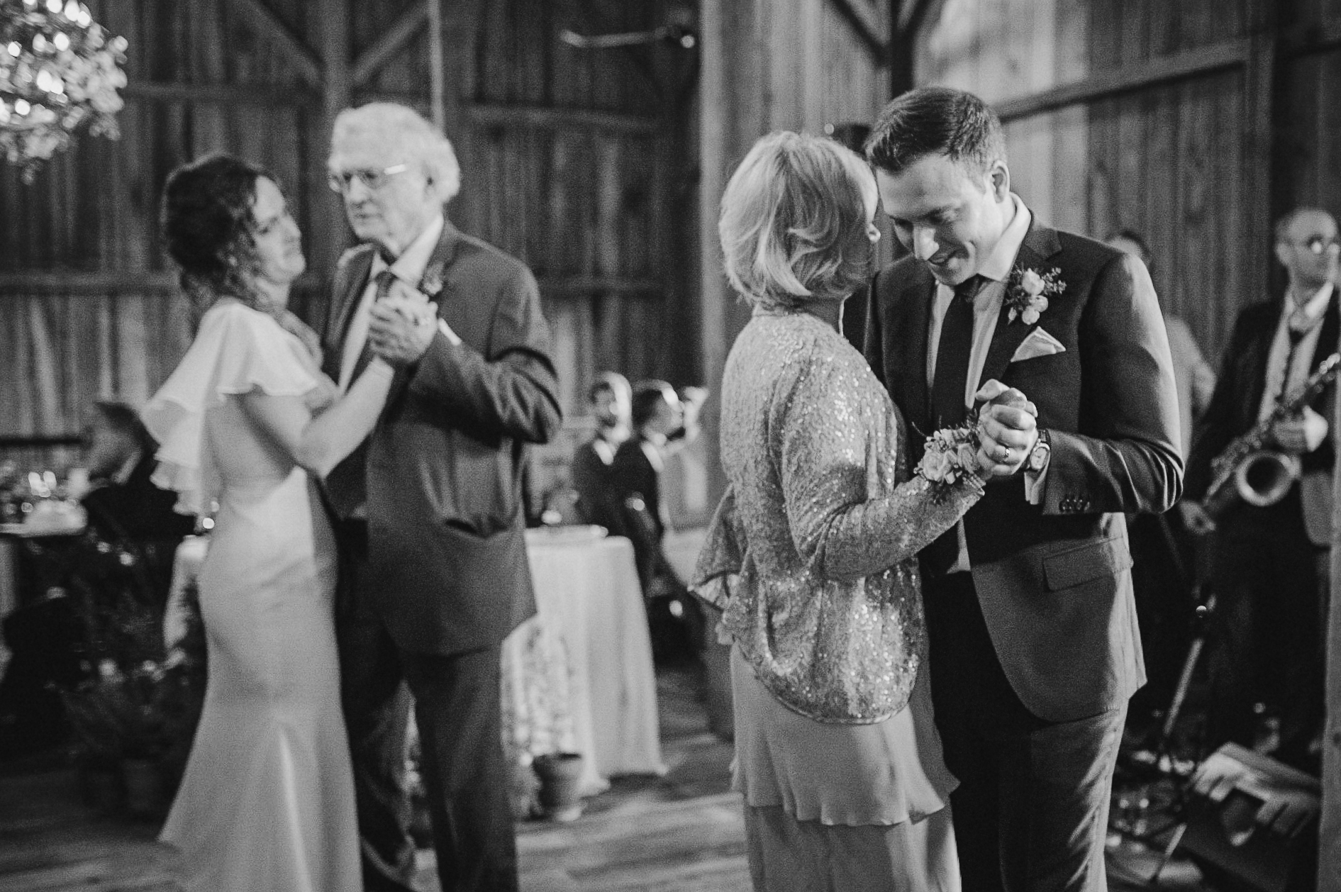 bride and groom having dance with parents at tranquility farm